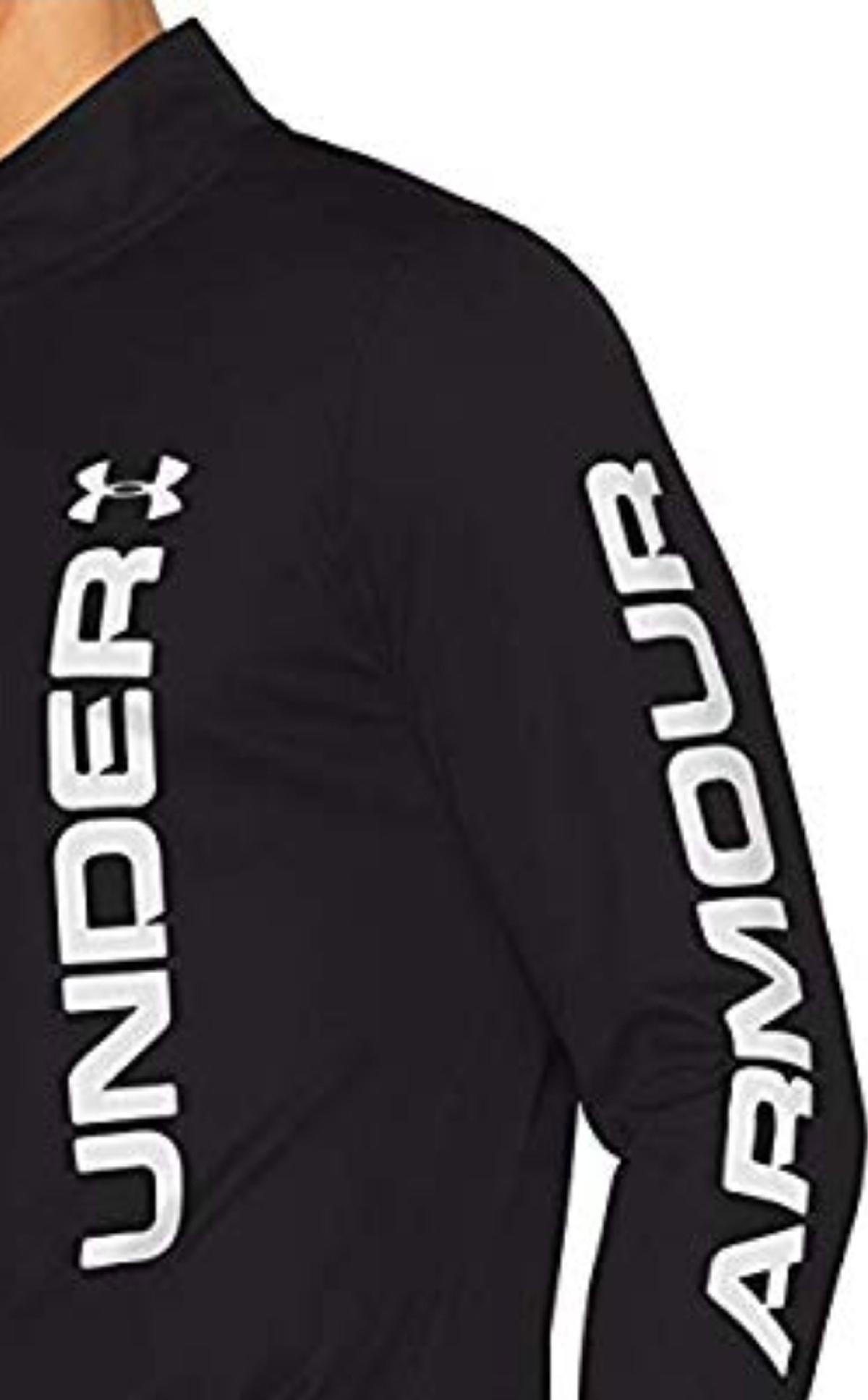 Under Armour Mens Speed Stride Split 1/4 Zip Top In Black Size XXL. BNWT. Lightweight men's running top  1/4 zipper  Breathable & comfortable  Dries quickly  Low-cut hem  Reflective details  Graphics on chest and sleeve  Fit: Tight  Material: 100 Percent Polyester