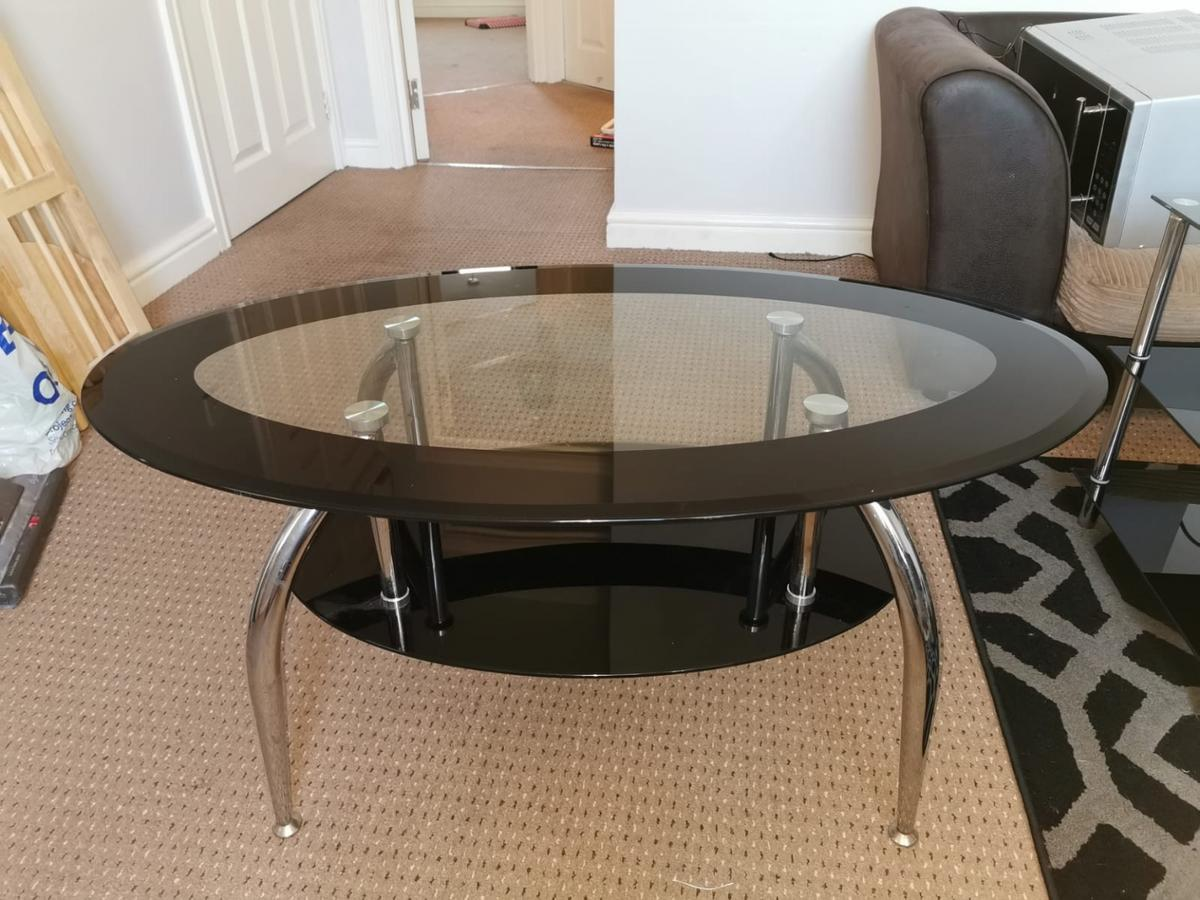 black and glass coffe table£15