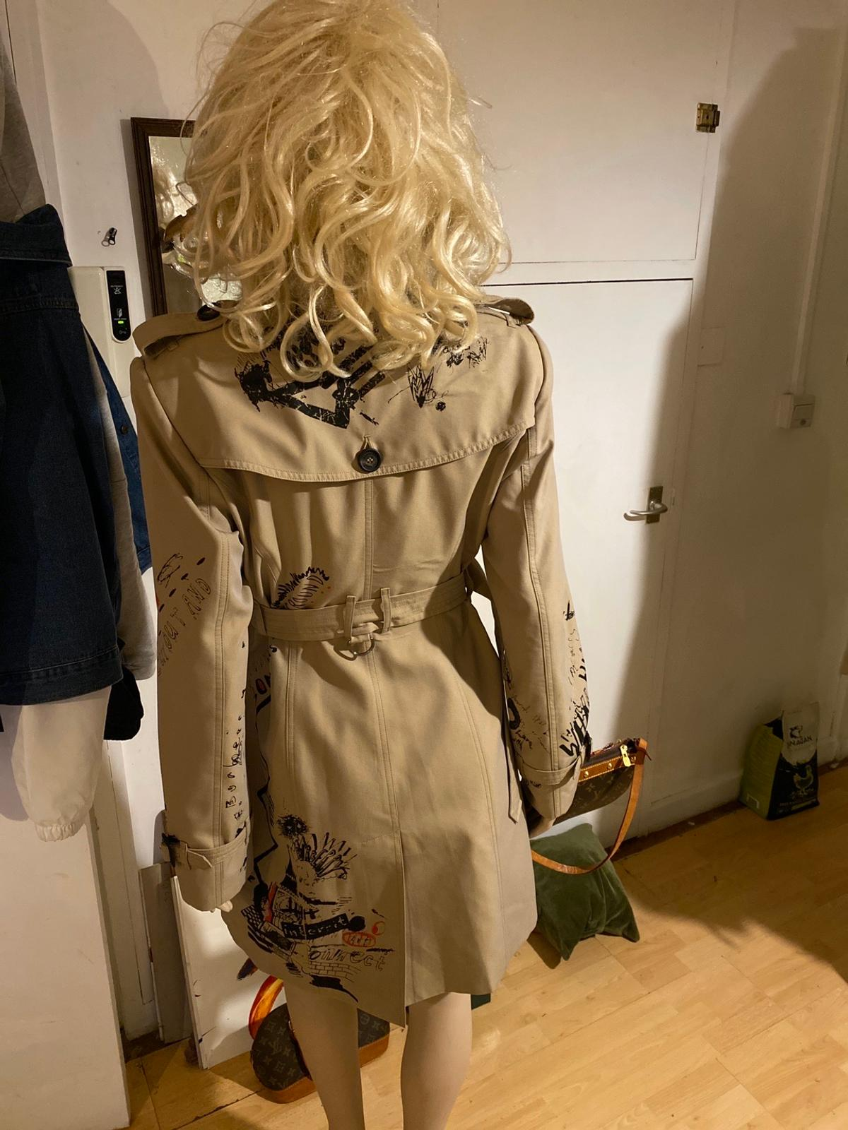 """New Burb' Trench . Sketch Print SS18 . All measurements and details are in last photograph """" .. thanks for looking . Can ship at cost of ..signed & tracked ."""