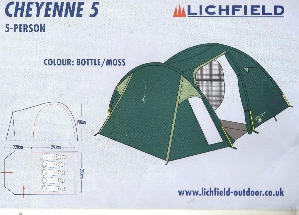 Lichfield cheyenne 5 tent. 5 man tent. Only used a couple of times. Selling as bought a bigger tent. Excellent condition
