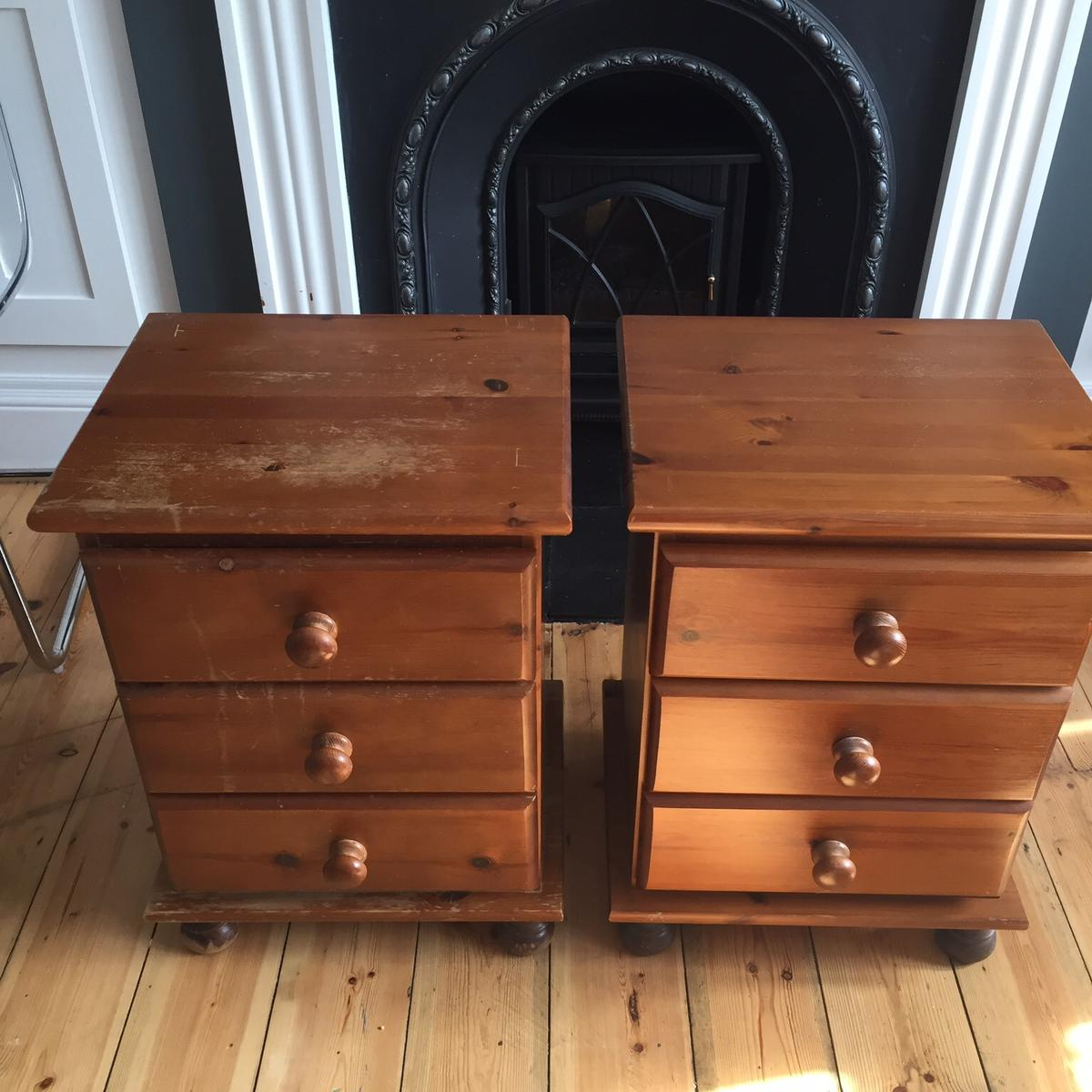Perfect upcycle project Solid pine bedside drawers North Cheam 44w x 36d x 60h Cm No offers collection only