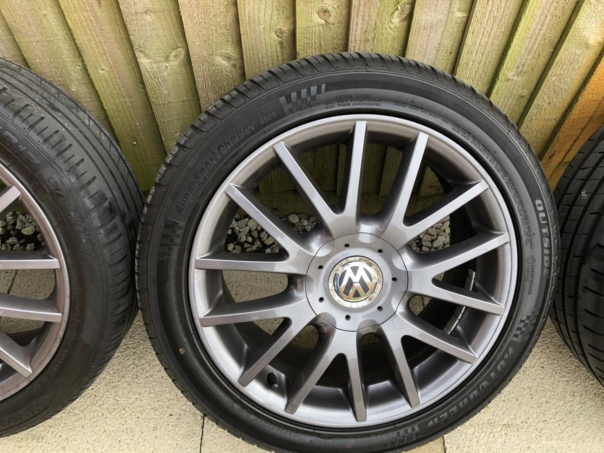 "17"" golf mk5 GT sport alloys All reasonable condition Had refurb July 2019 No curbing/buckles or cracks PCD 5x112 All tyres are decent apart from one  Collection Preston Lancashire"