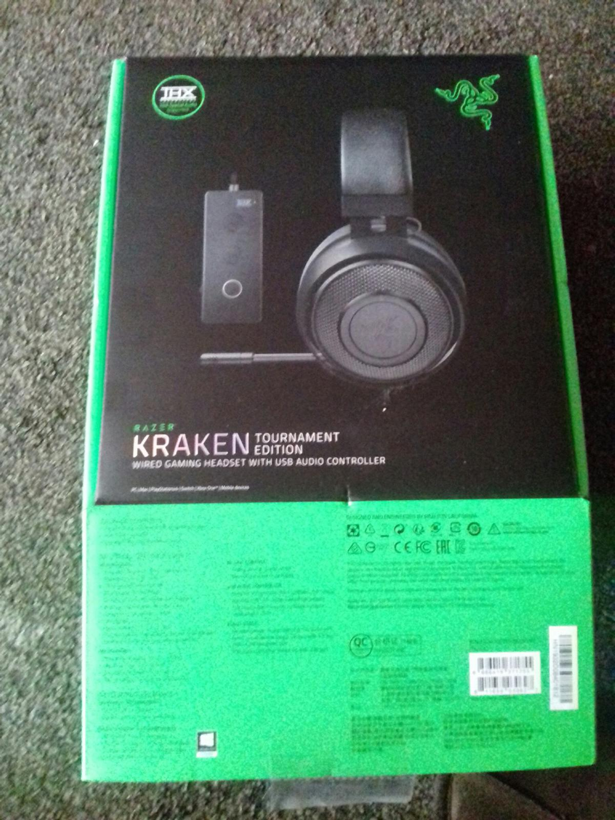 Razer Kraken Tournament Edition wired Gaming Headset with USB Audio Controller... THX spatial audio supported... unwanted gift... open but not used.. preferred collection but delivery can be arranged for small fee only to local area. USB compatibility with PC... X BOX 1... PLAYSTATION 4 and any device with 3.5 audio port