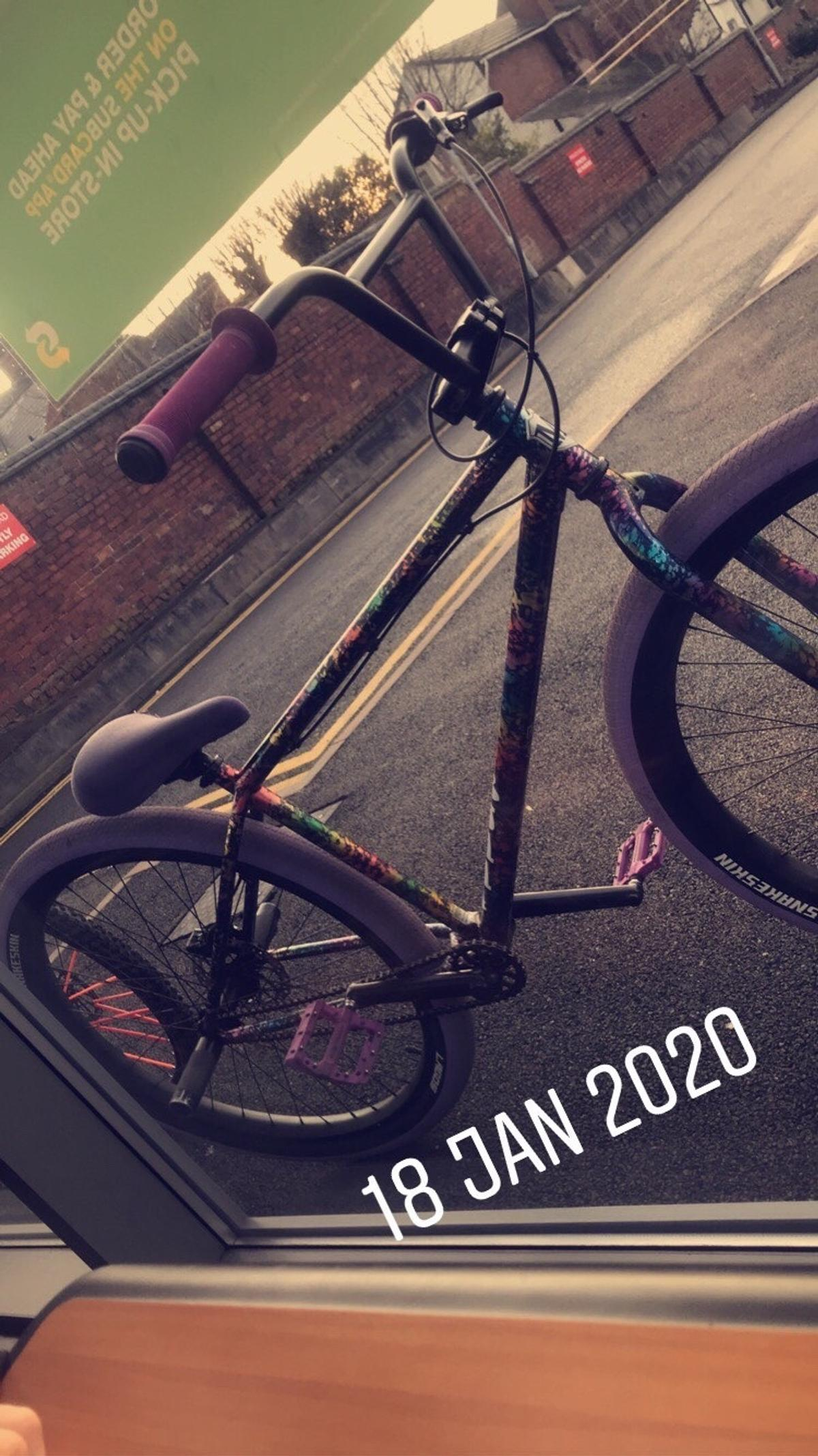 "Not %100 selling just send offers and swaps my way 29"" wheels Nuke proof neutron peddles Shimano deore rear brake Purple odi grips New shadow conspiracy bottom bracket"