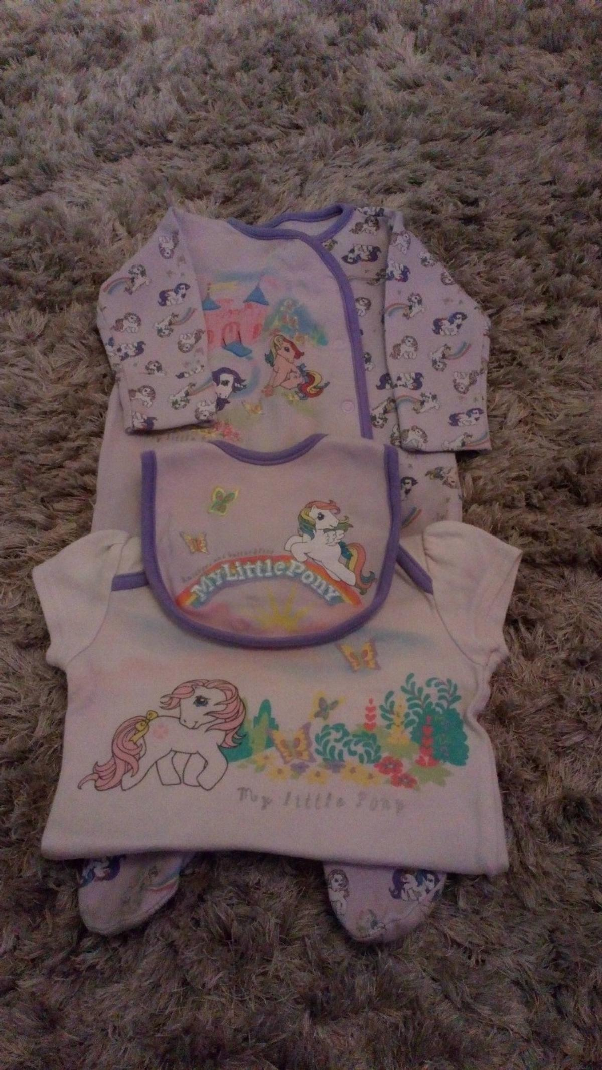My Little Pony Set Includes Sleepsuit, matching vest & bib Age 3-6 Months Good Condition Mothercare  Collection from DY5 or can post if buyer covers postage
