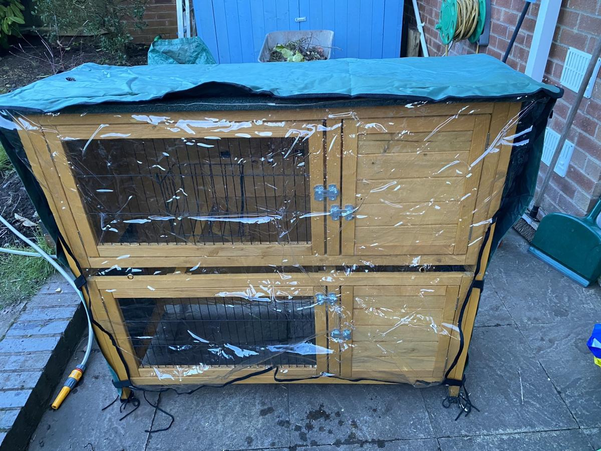 For Sale - 2 storey Rabbit Hutch in very good condition!! Less than 6 months old - bought in December.. with cover. Collection from Lichfield.