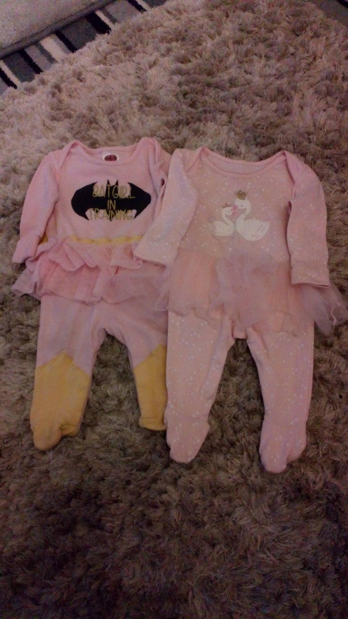 Baby Girls tutu Sleepsuits Swan Sleepsuit - Age 0-3 Months Batgirl Sleepsuit - Age 3-6 Months Both in good condition  Collection from DY5 or can post if buyer covers postage