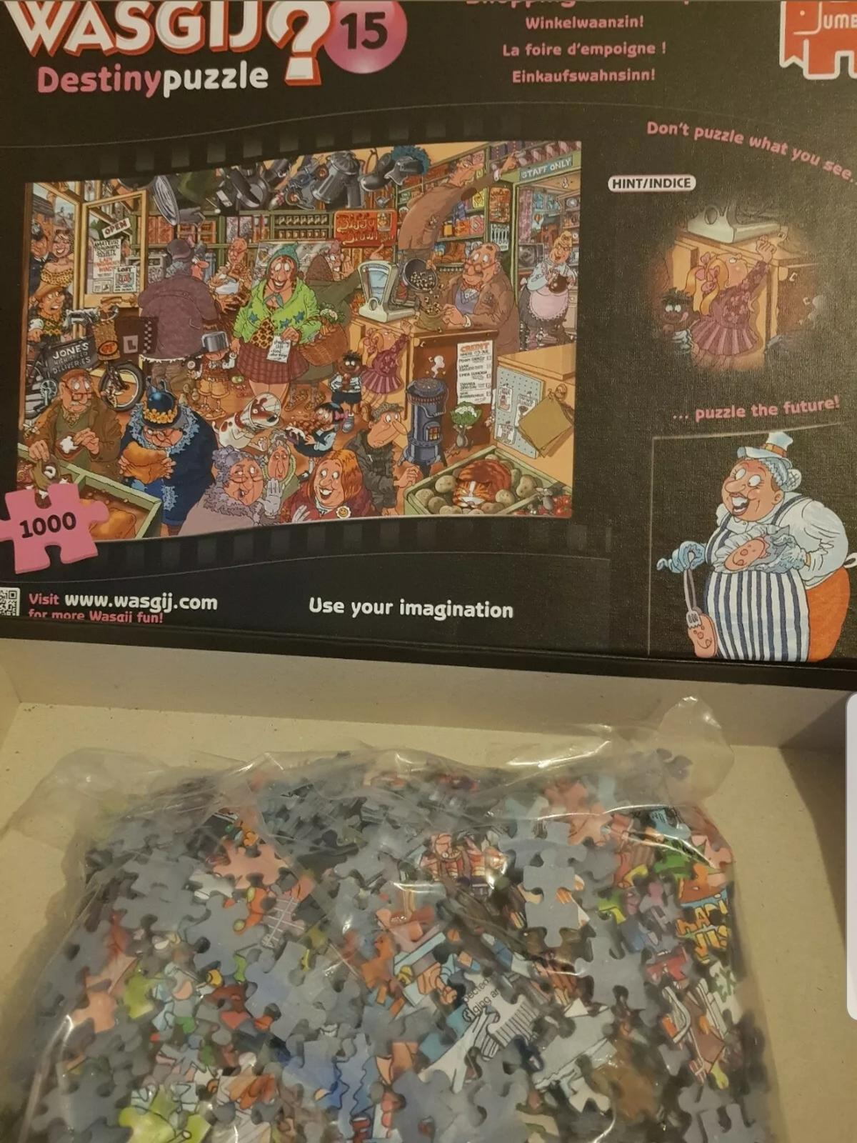 **POST ONLY **  USED wasgij jigsaw puzzle 1000 pieces made by jumbo .  **PAYPAL TRANSACTION ONLY ** **POSTAGE £3.25**