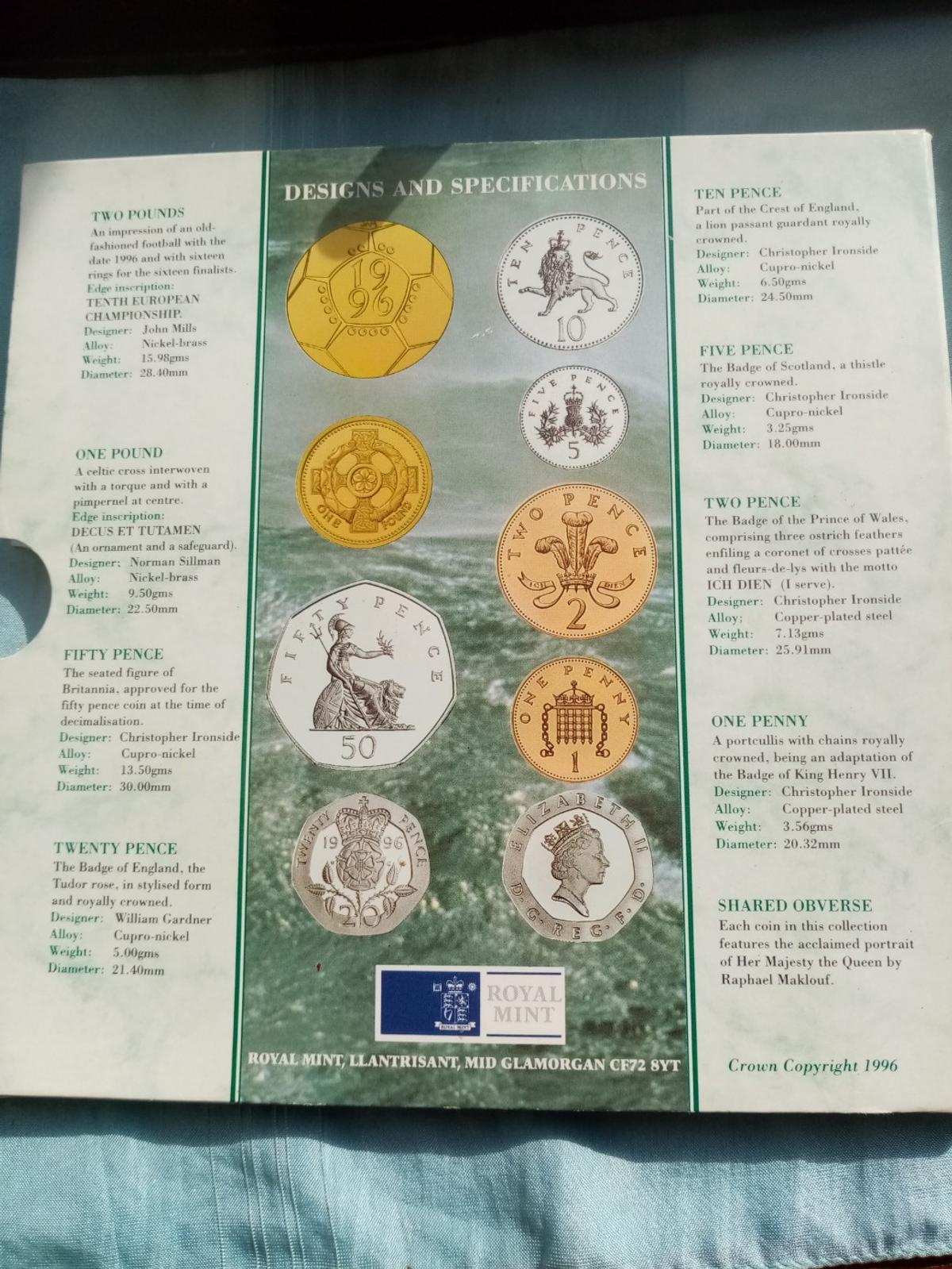 A beautiful unc royal mint 1996 coin collection in sealed packaging in brilliant uncirculated condition and never been out the packaging. Postage will be added at £2 and its first class signed for.