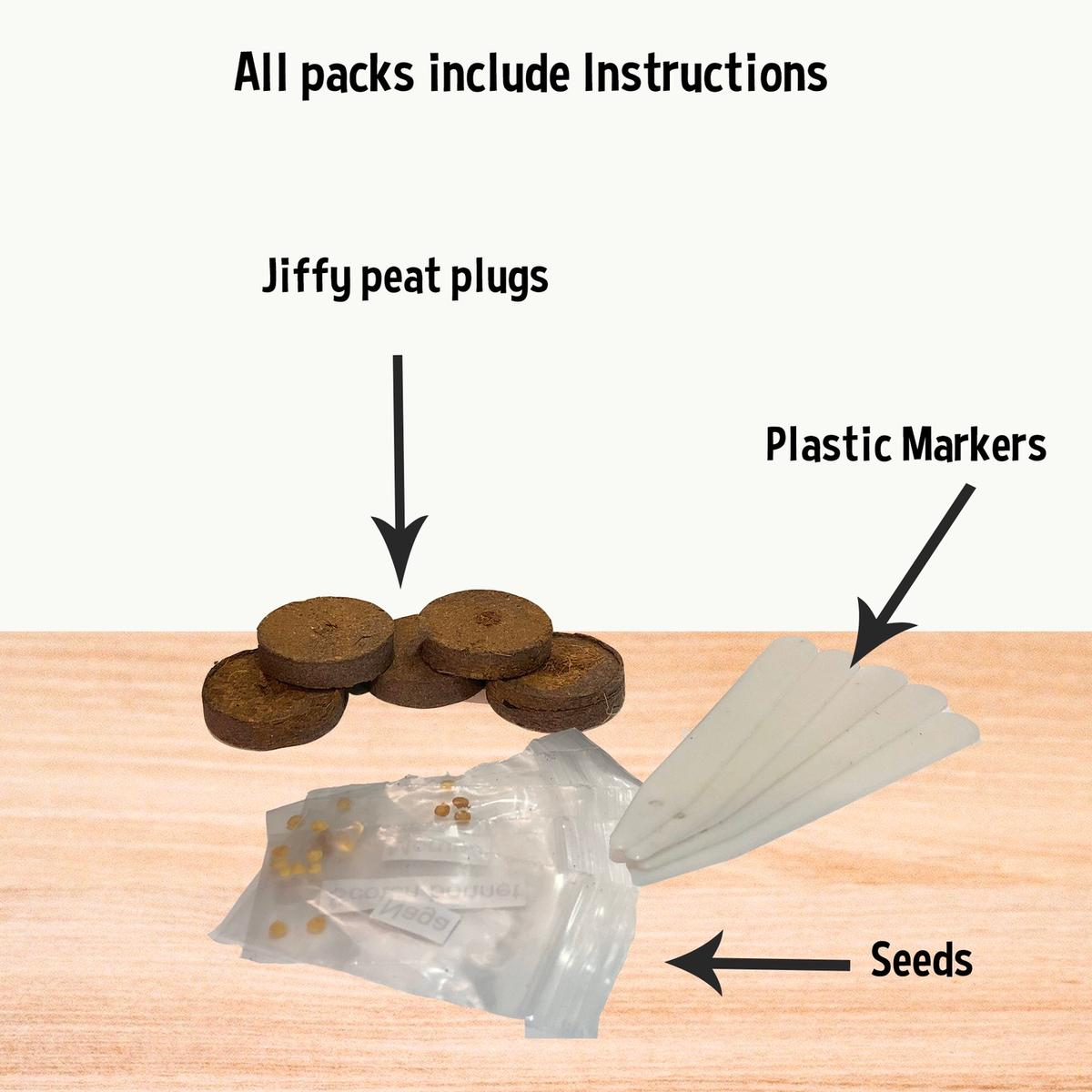 Grow your own fresh veg at home with this allotment starter kit! Everything you need to get started - just add water! Kit includes: Carrot seeds Onions sets Radish seeds Garlic seeds Tomato seeds Lettuce seeds Jiffy peat plugs Markers Instructions