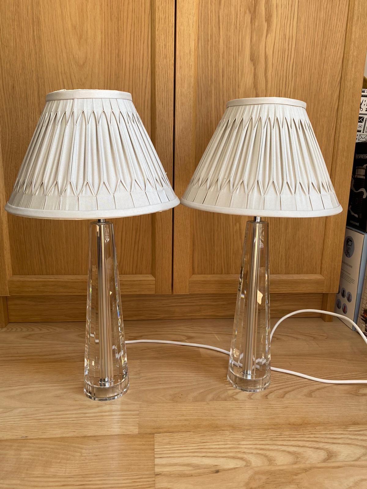 Gorgeous clear lamps with silver/grey lamp shade Fully working order. No marks/chips Paid £240/ base £160 and Shade £80 No silly offers please!!!!