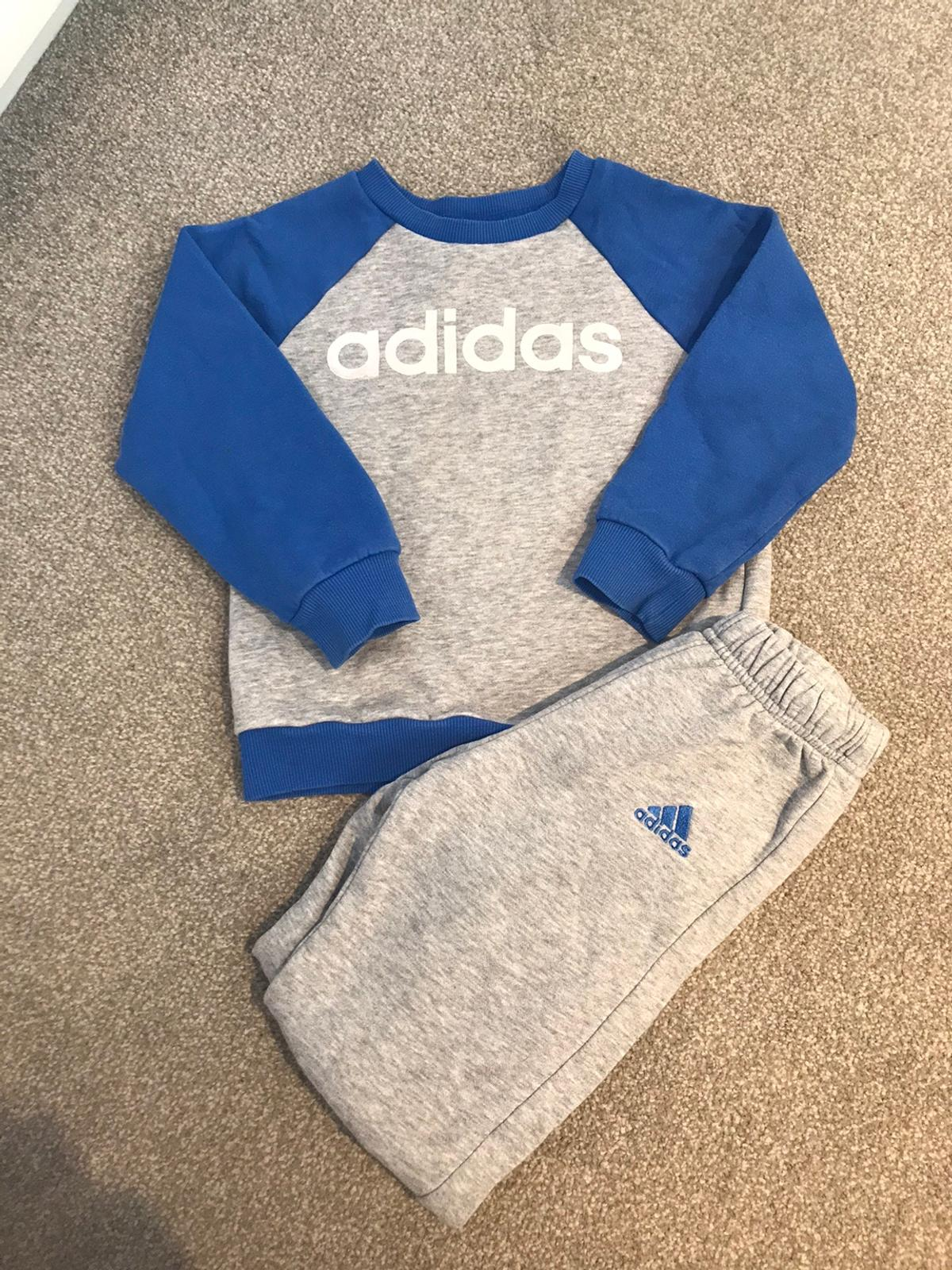 Kids blue and grey Adidas tracksuit Size 18-24months