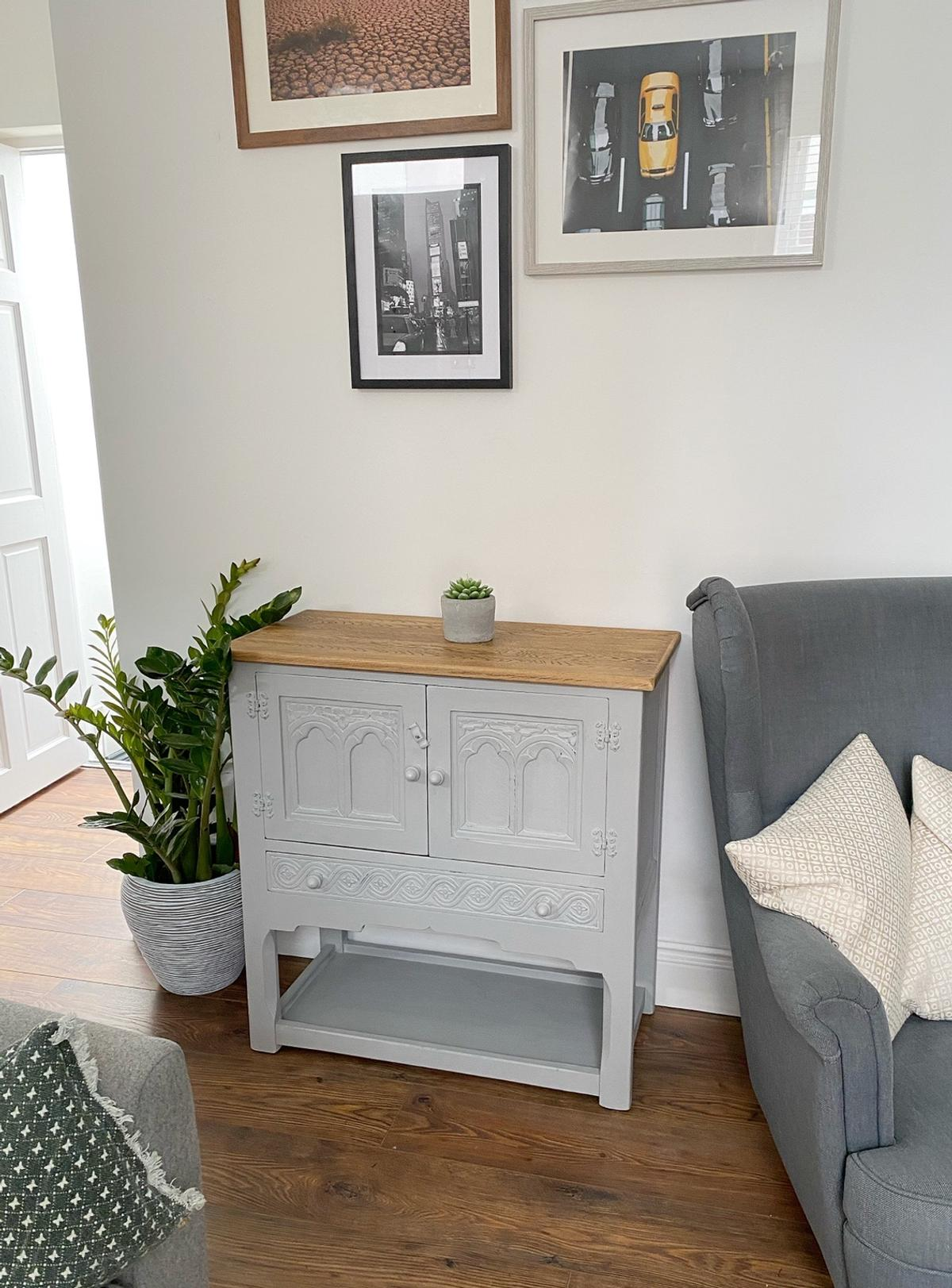 """Paris Grey Oak Cabinet Measures: Width: 32"""", Depth: 41cm/16"""", Height: 84cm/33"""".  I can deliver fast and free of charge within the Cheltenham area or you can collect from Leckhampton. Payment made via cash or bank transfer. More furniture available.  Any questions please ask."""