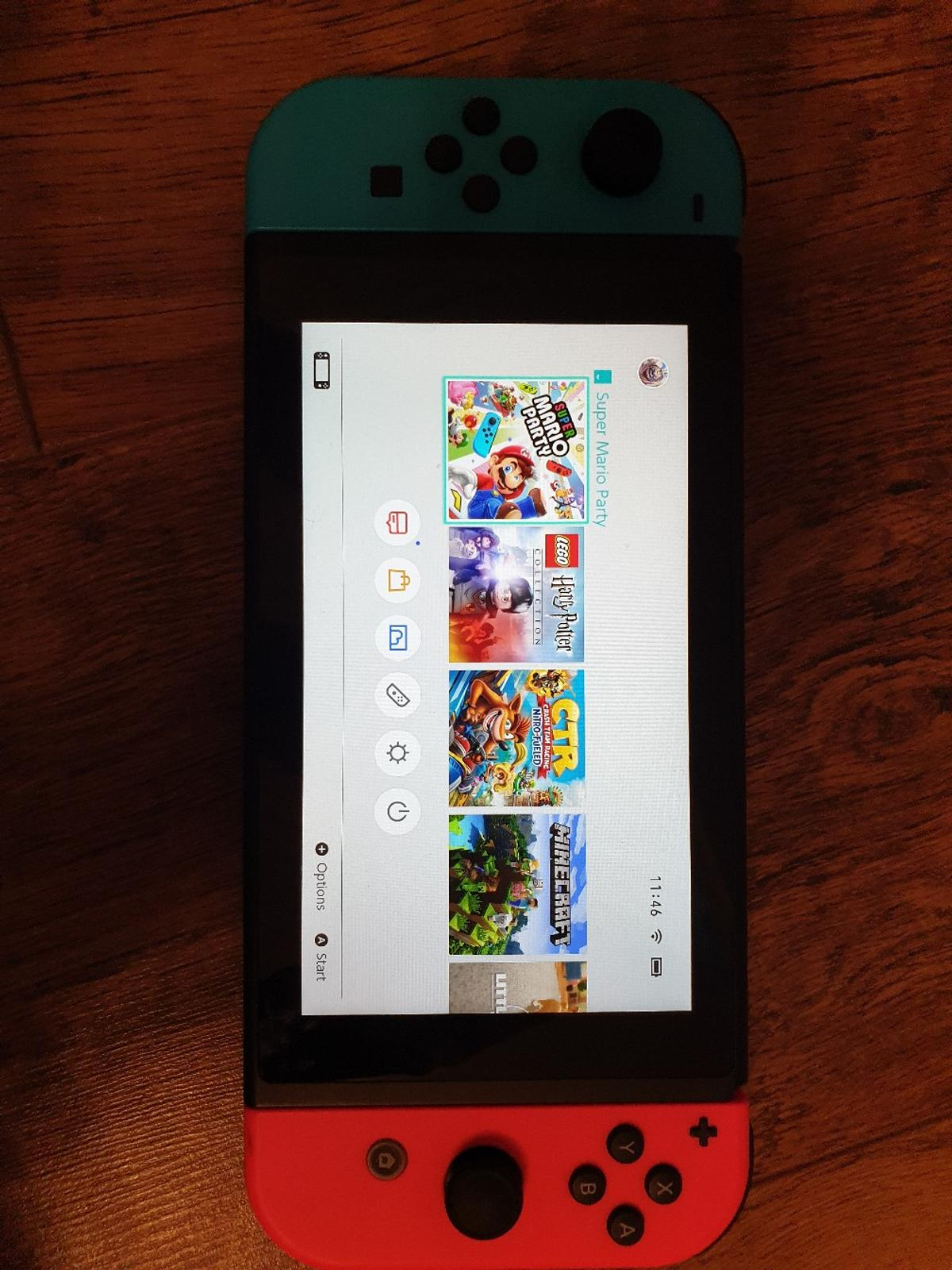 nintendo switch bundle comes with everything in photos. • Nintendo bag • Mario carry case • x6 games • Console • plus controllers  (no box)  basically brand new, son played with it about 4 times.  no offers.