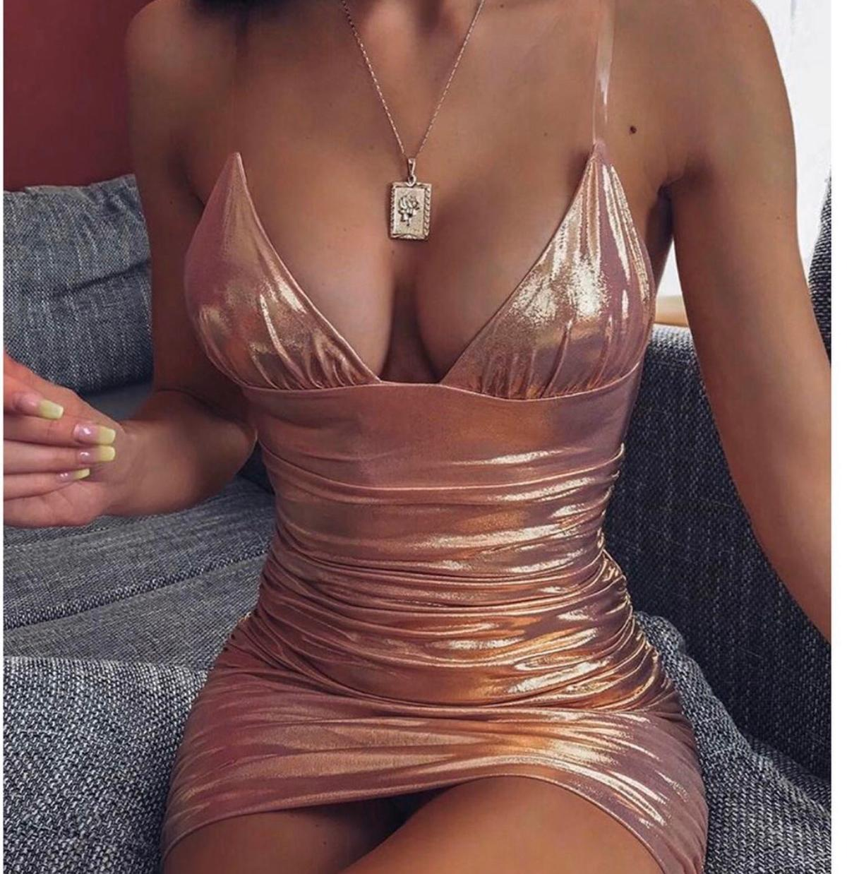 Rose gold bodycon dress brand new , I have 2 size small ready to go
