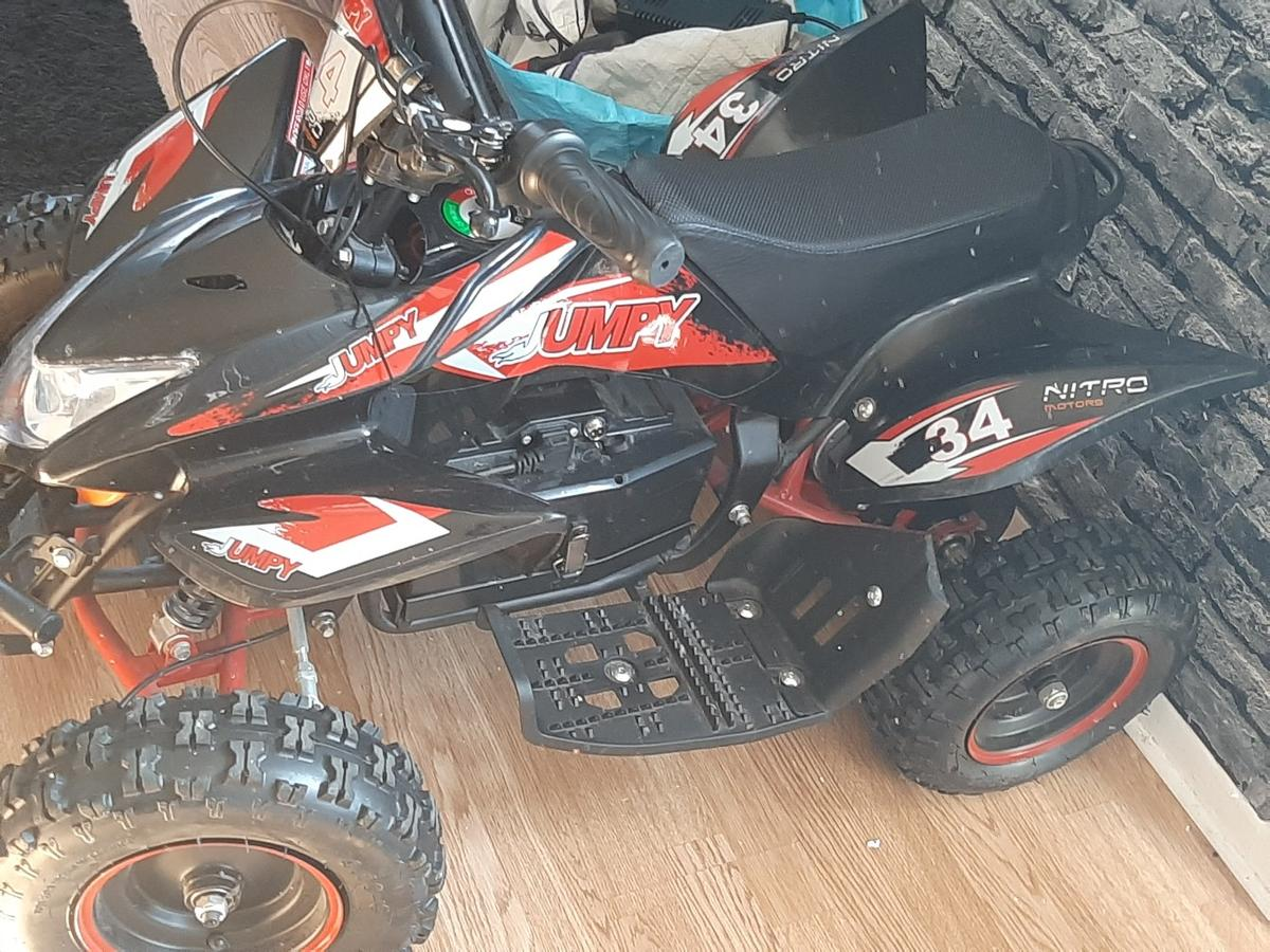 1000wat electric quad only been used a handful of times drives great comes with charger wheels need pumping up comes with 3 speed settings and key