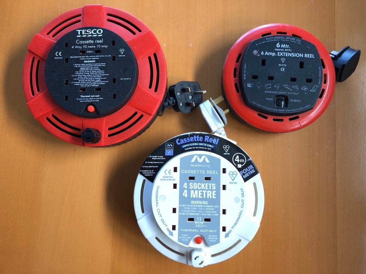 I'm selling these three extension leads, either together or individually. Each has a trip/ thermal cut out button for safety.  I have: 4 meter 4 x plug sockets 6 meter 2 x plug sockets 4 meter 4 x plug sockets  All in excellent condition and work. £15 the lot or each £6 for small reels and £7 larger.  Collection from Orpington Br68aq area
