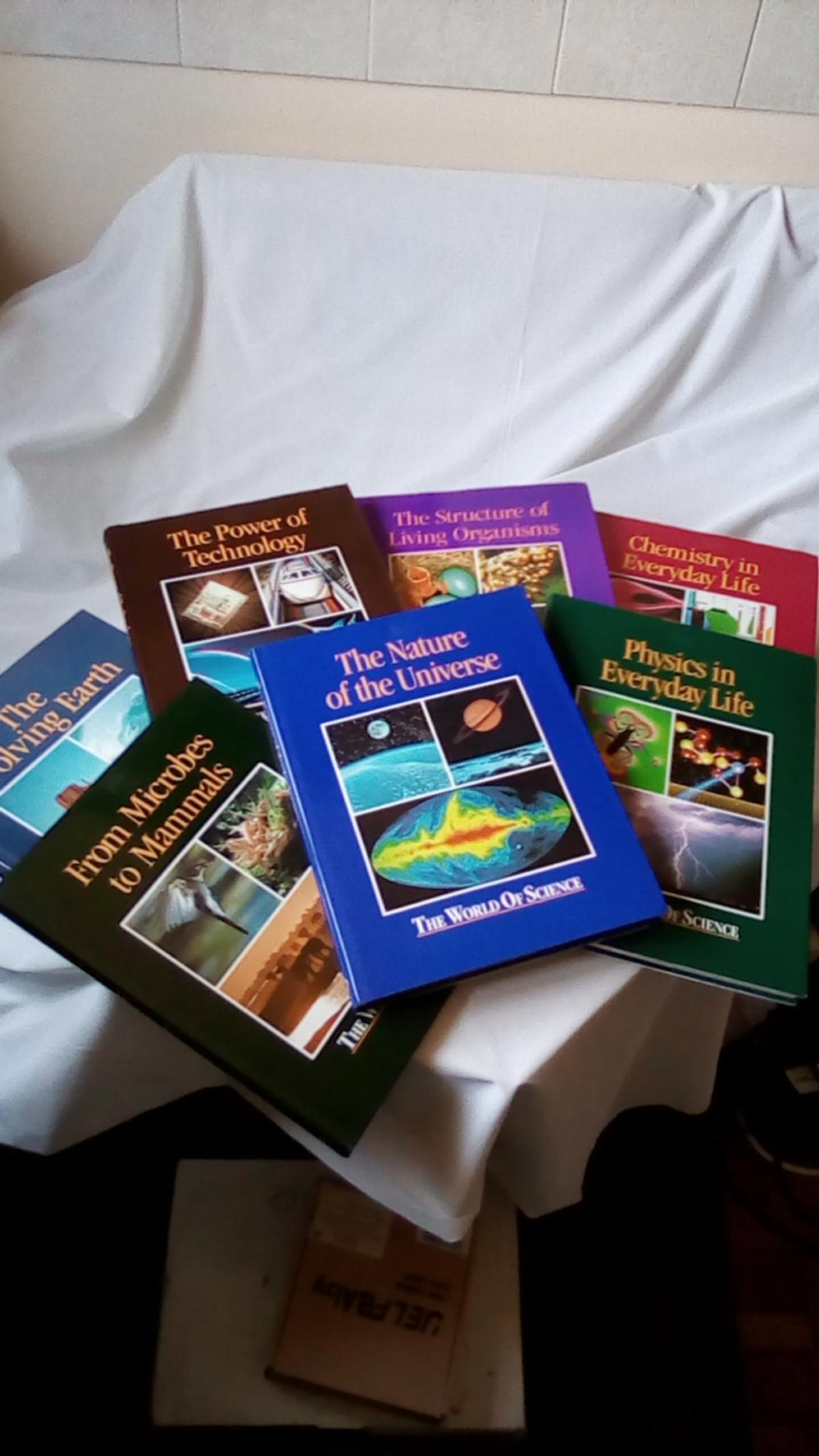 7 hardback books, with dust covers, technology, microbes to mammals. universe, chemistry. physics, earth,living organisms. can sell individual ones at £1.50 each great condition buyer collect