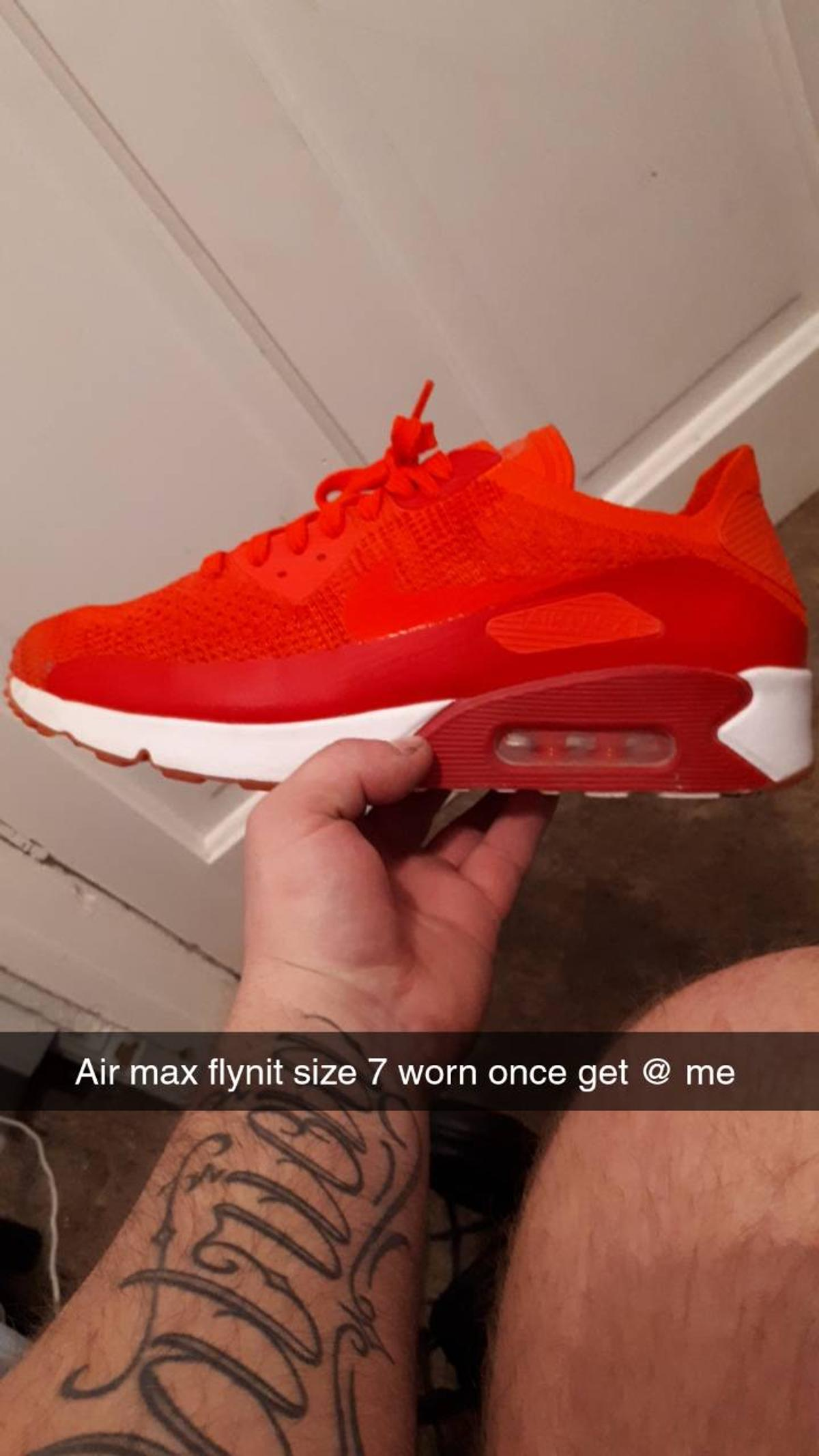 Size 7 Flynit Airmax's for sale, worn once for a matter of hours so in excellent condition, comes with box.  Delivery can be arranged if local, if not it will be collection only. Open to offers but not silly ones!