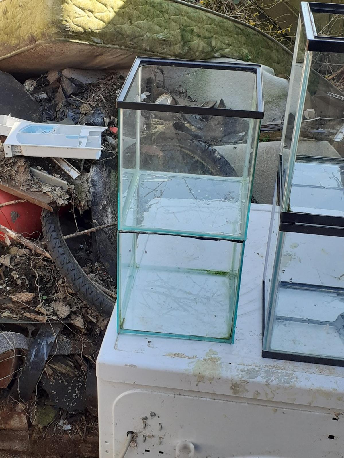 2 Medium fish tanks and 2 Small fish tanks for sale. 2 beta fish size tanks. 2 Starter fish tanks. No leaks and no cracks. No lids included. £20 for all. £5 a tank.