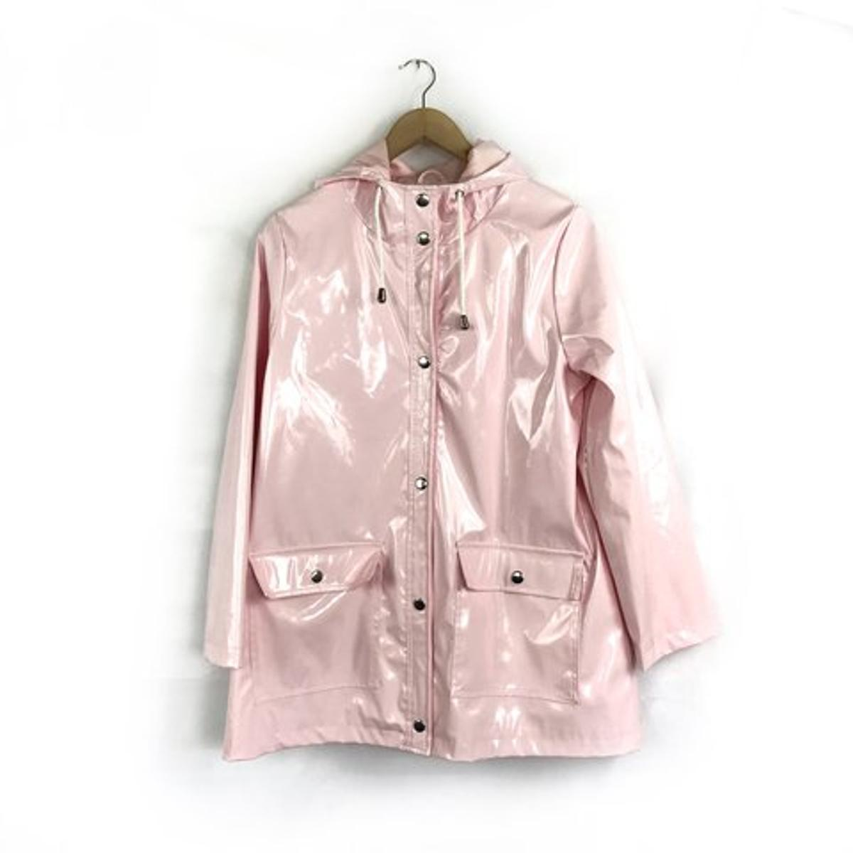 Blush pink rain mack size 8-10 hood with pullstrings 2 front pockets New Will post with all what is going on now completely understand