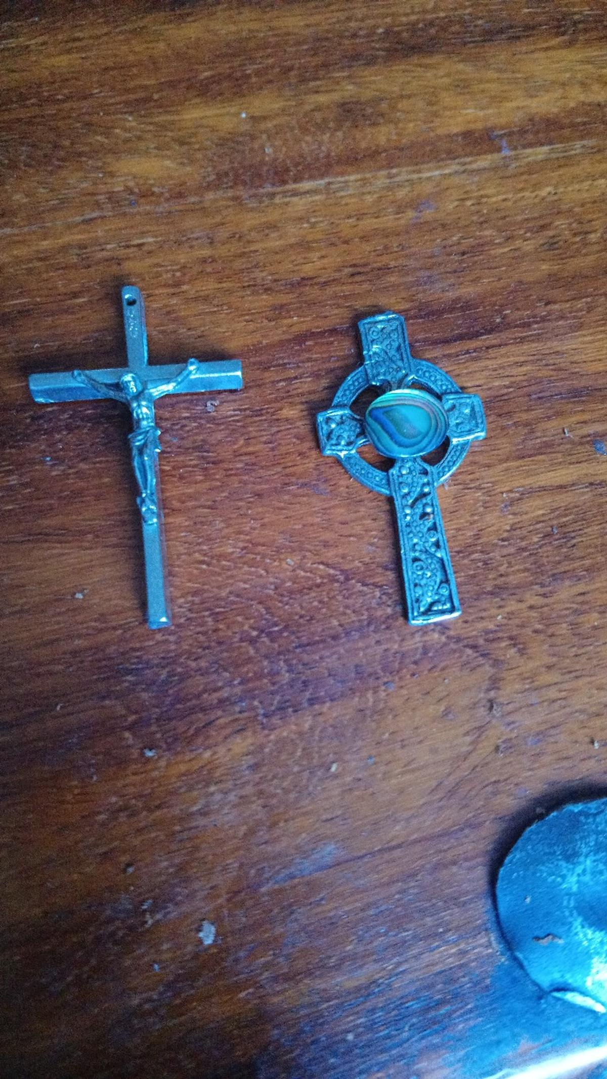 Vintage Two Christian crosses. One traditional, one celtic with abalone shell centre see photos. Used. In good condition. Reasonable offers considered. PayPal or collect.