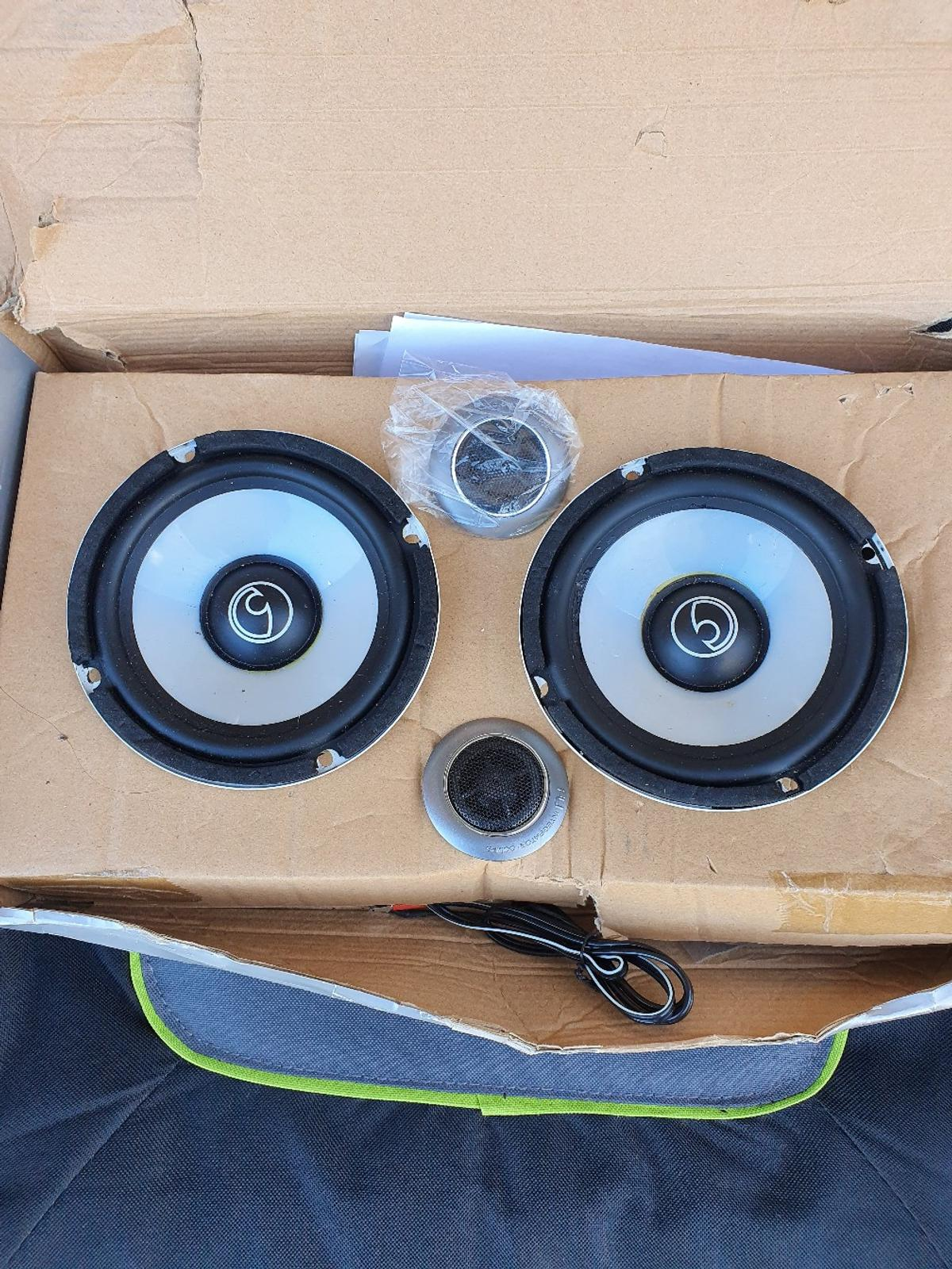 FLI component car speakers. brand new with tweeters and wires box bit goosed where been in cupboard