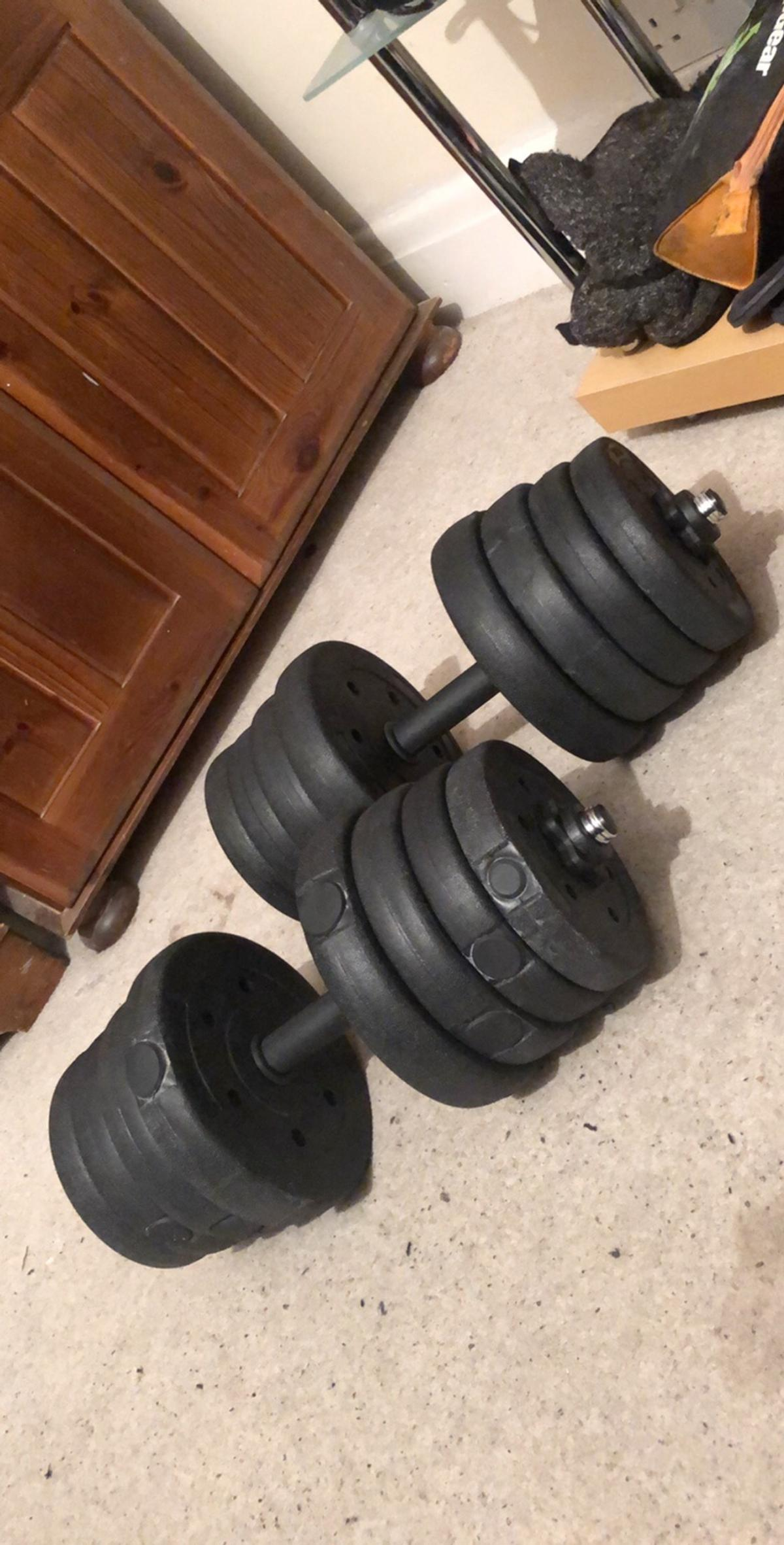 Dumbbell set with protein and some bottles and weight gain tablets some tablets and protein have been used but there's still plenty left there is 30kg weight in total 15 per dumbbell weights are still new only been used a handful of times but got a injury so taking a break from workouts collection from Thornaby or can deliver locally