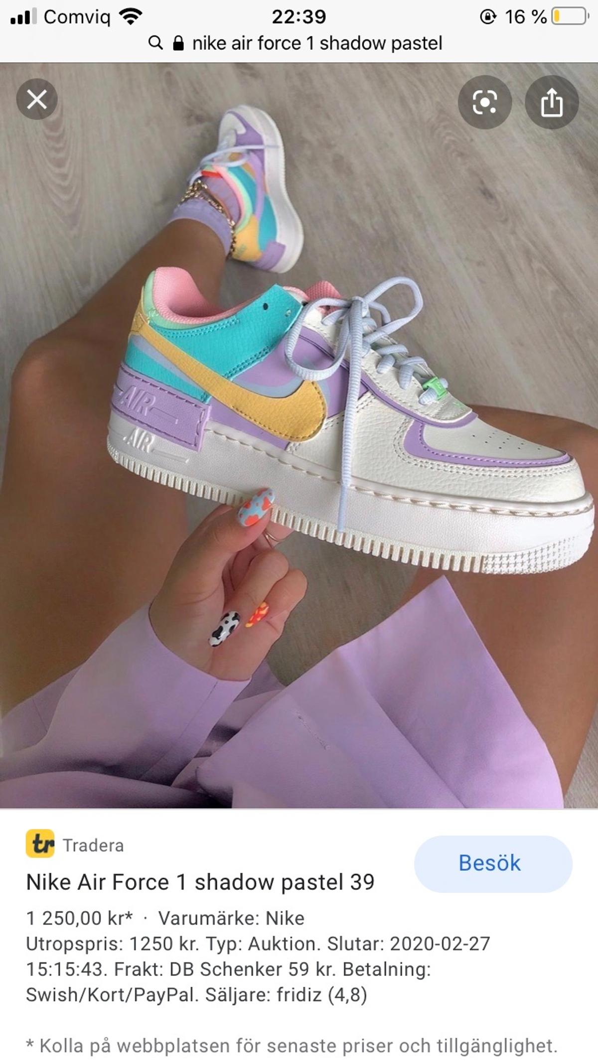 Nike Air Force 1 Shadow Pastel In 14553 Botkyrka Kommun For Sek 1 00 For Sale Shpock Playing with the proportions of its signature 'air force 1' sneakers, nike doubles up on the details of this 'shadow' version with a layered 'swoosh' and thicker sole. nike air force 1 shadow pastel