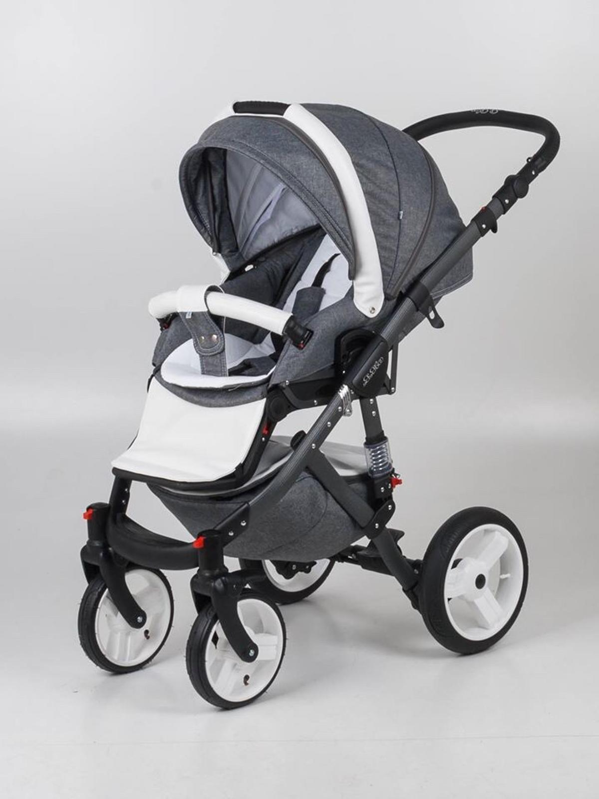 1 x Grey Alu Chassis 1 x Seat Unit (Inc: Hood and Apron + Bumper Bar) Carry cot Car Seat including the adapters Pram Bag Parasol Footmuff Rain cover not the original one had to get a replacement. Also Includes Broderie Anglise footmuff with grey ribbon that cost £80 and the matching one for car seat. Also includes spare wheels. Has been professional cleaned Small marks on changing bag and a few scratches on chassis but nothing noticeable. Will deliver if in Liverpool/Merseyside