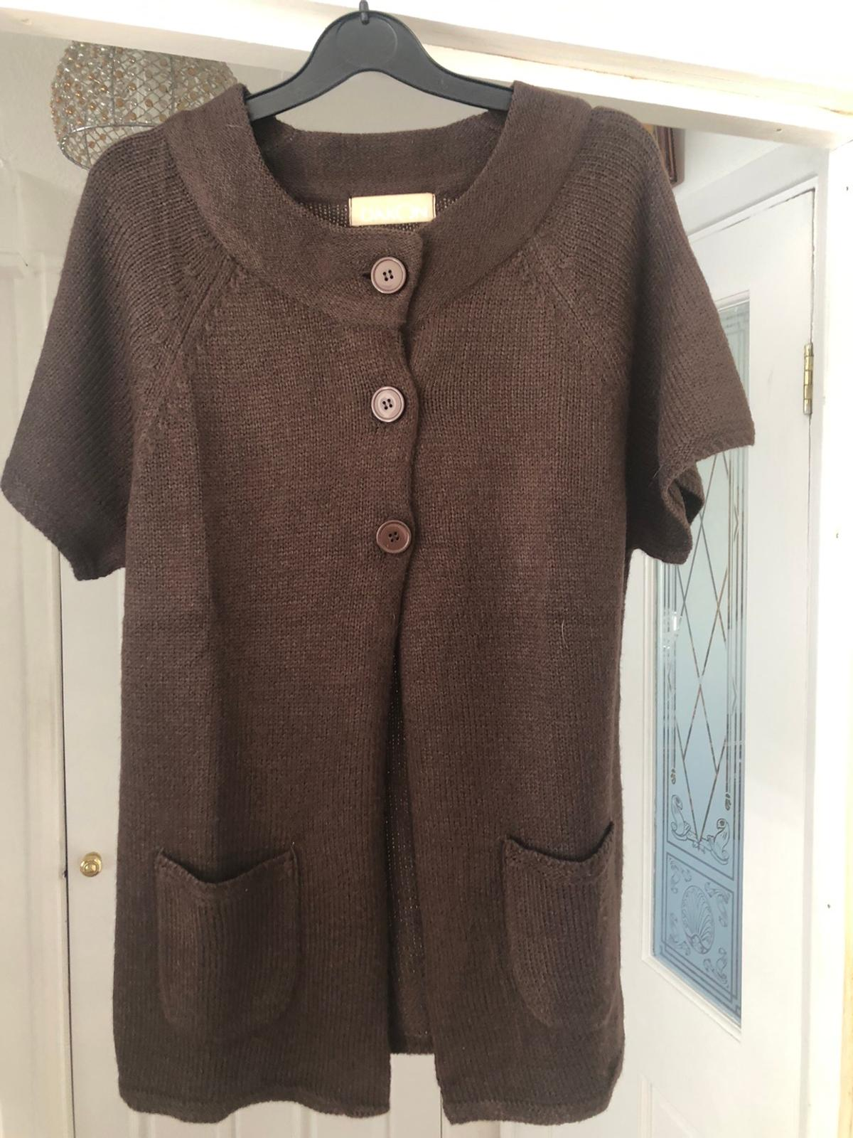 Brown short sleeved cardigan size 14/16 (621)
