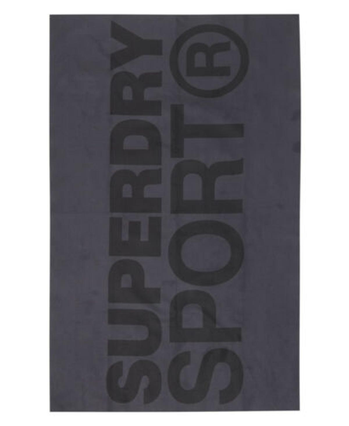 Superdry Sports microfibre towel. The Sports microfibre towel is an essential for any workout. This lightweight towel features an all over Superdry logo print design and a hang tag with reflective detailing.  H 65cm x W 41cm  This item is brand new and in perfect condition. Please be aware that most items with printed logos are intentionally cracked for a vintage effect.