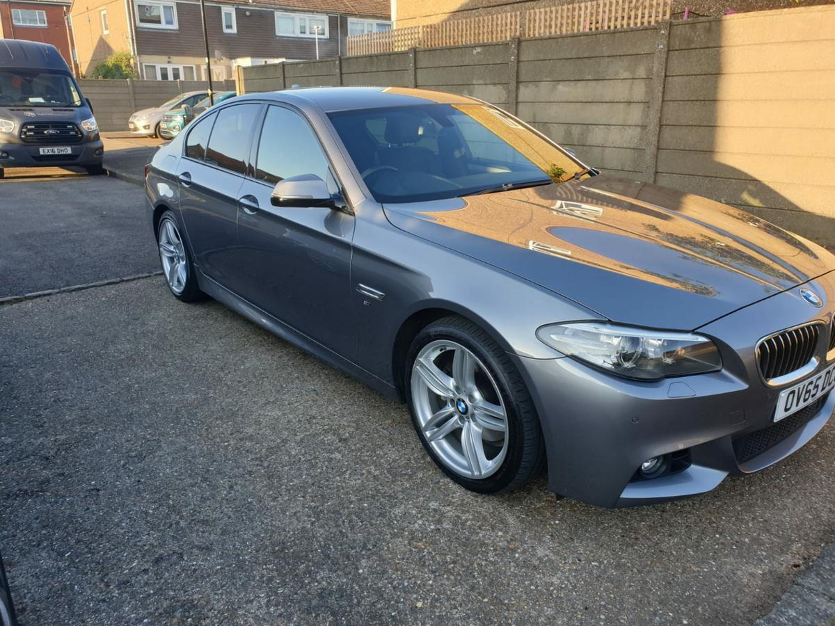 BMW 5 series M-sport (65 reg) 91k miles, HPI clear Euro6 engine and ULEZ free MOT till March 2021 Full BMW service history. Last serviced at 90k miles. 4 new brakes and pads fitted by BMW 19 inch M-Sport twin spoke rims with 4 run flat tyres. Car is in showroom condition with unmarked bodywork and leather interior with heated M-Sport seats. Purchased from BMW showroom in March 2020 for chauffeuring and the car was pco licensed in march but being sold because of lockdown and no work.