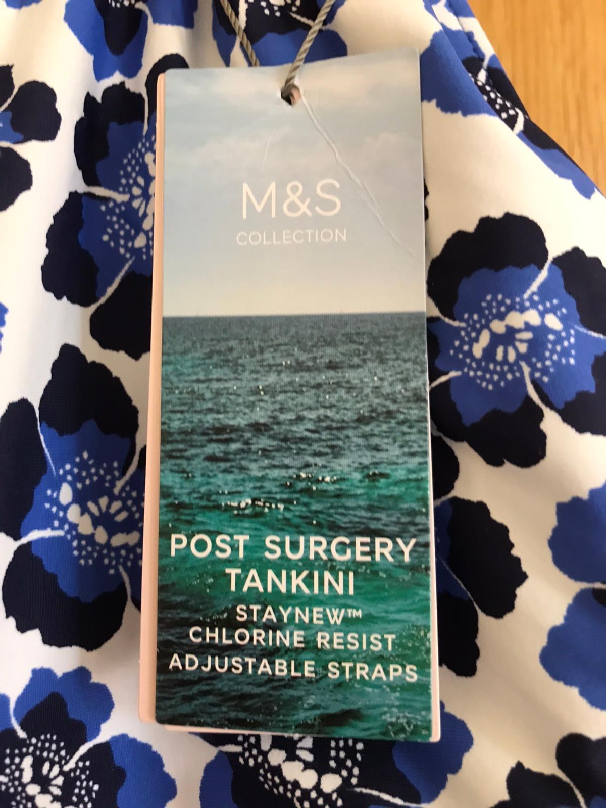 New With Tags M&s Post Surgery Floral Print Tankini Size 14 . Condition is New with tags. Dispatched with Royal Mail 2nd Class.signed for  Product Style: Tankinis Regular fit Lined Padded Sleeve length: Strap Non wired Added stretch Chlorine resistant