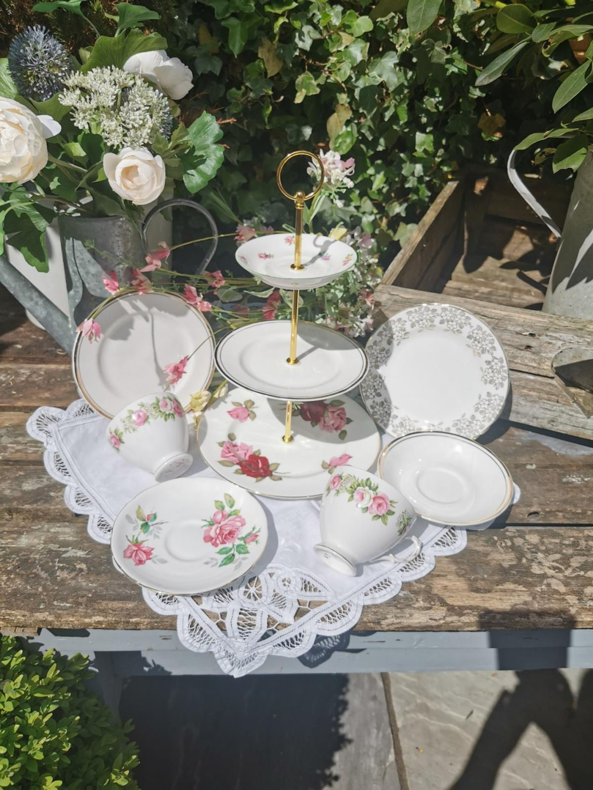 Pretty English China tea set and cake stand for two. Collection Cronton Widnes