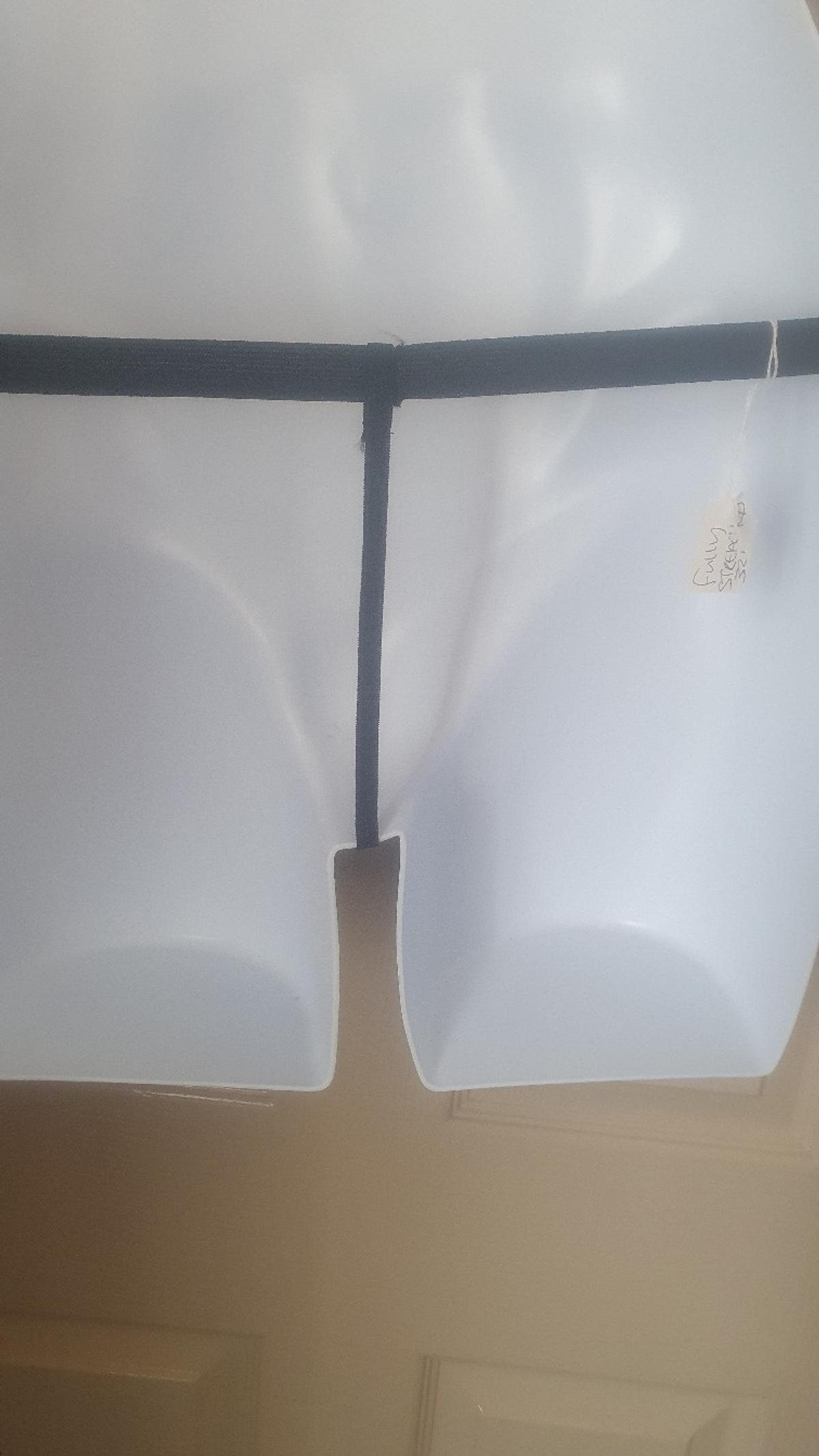 Classified mens g string 1 size I have measured.. basic size not using any streach 11.5' fully streached 32 . Good size pouch wide elastic. Pet n smoke free home PLZ DONT ASK FOR DELIVERY AS I CAN NOT MY PO IS CLOSED I DONT DRIVE if u ask this I will ignor u .tnx