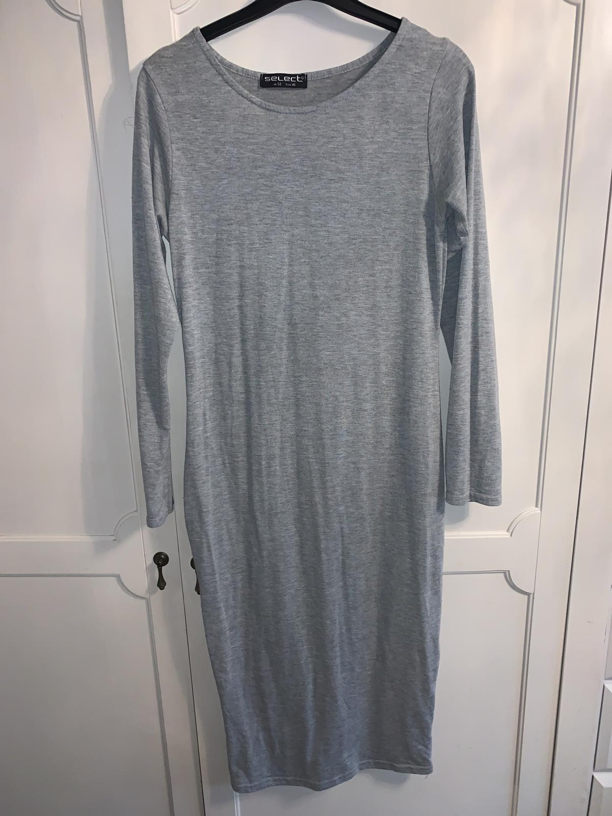 Size 12 Select light grey long sleeved body mid length dress body con fitted