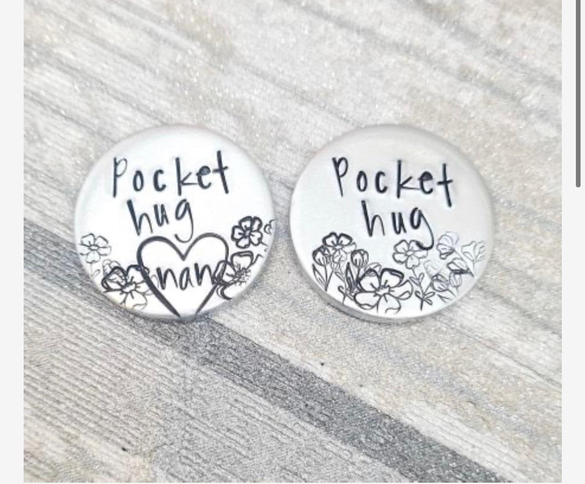 🤗 POCKET HUGS 🤗  All 3 designs are ready made to go 😁 So pop your order in now for a FAST TURNAROUND 📮🚪  £5 or £6 personalised  (Just need to add names if ordering the personalised ones)