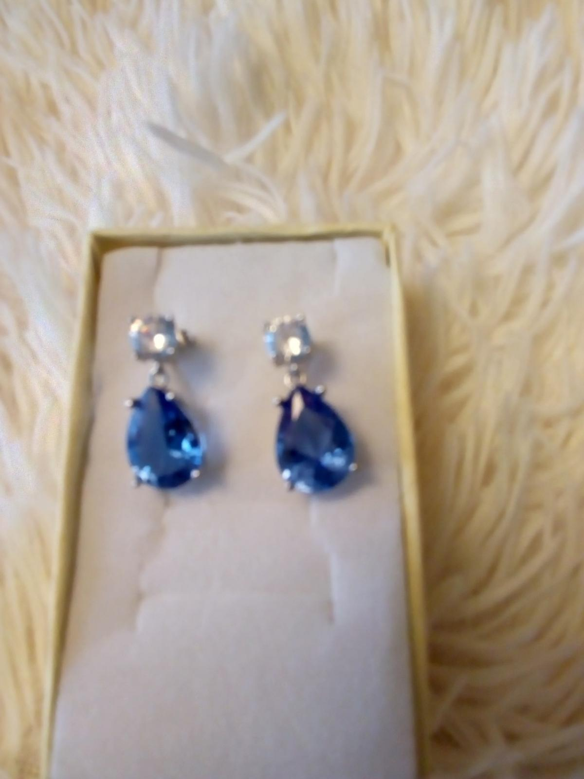 These Cute Blue Sparkling Earrings Are For Pierced Ears Brand New And Comes With A Gift Box