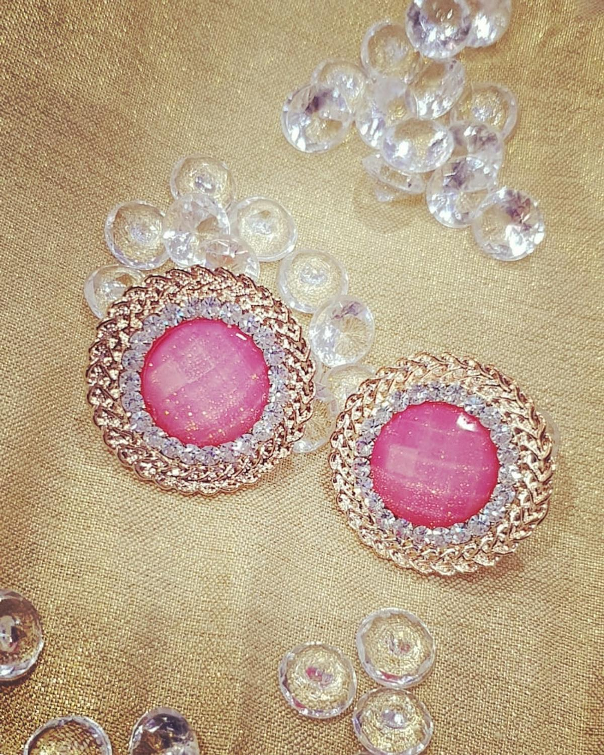 Pink studded earrings for all occasions  size 20x18 Pink resin Antique good plated q Also available in aqua blue - please check other pictures