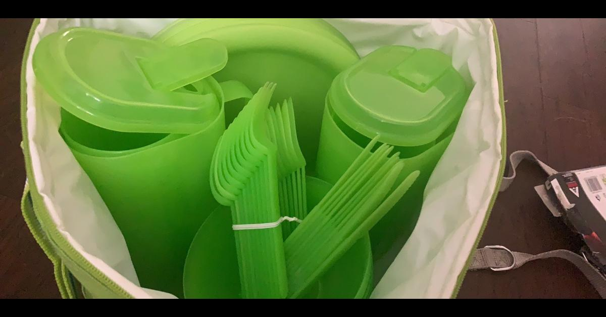 Most items are new in the bag, contains plastic bowls, plates, cutlery, glasses and jugs in a cool bag