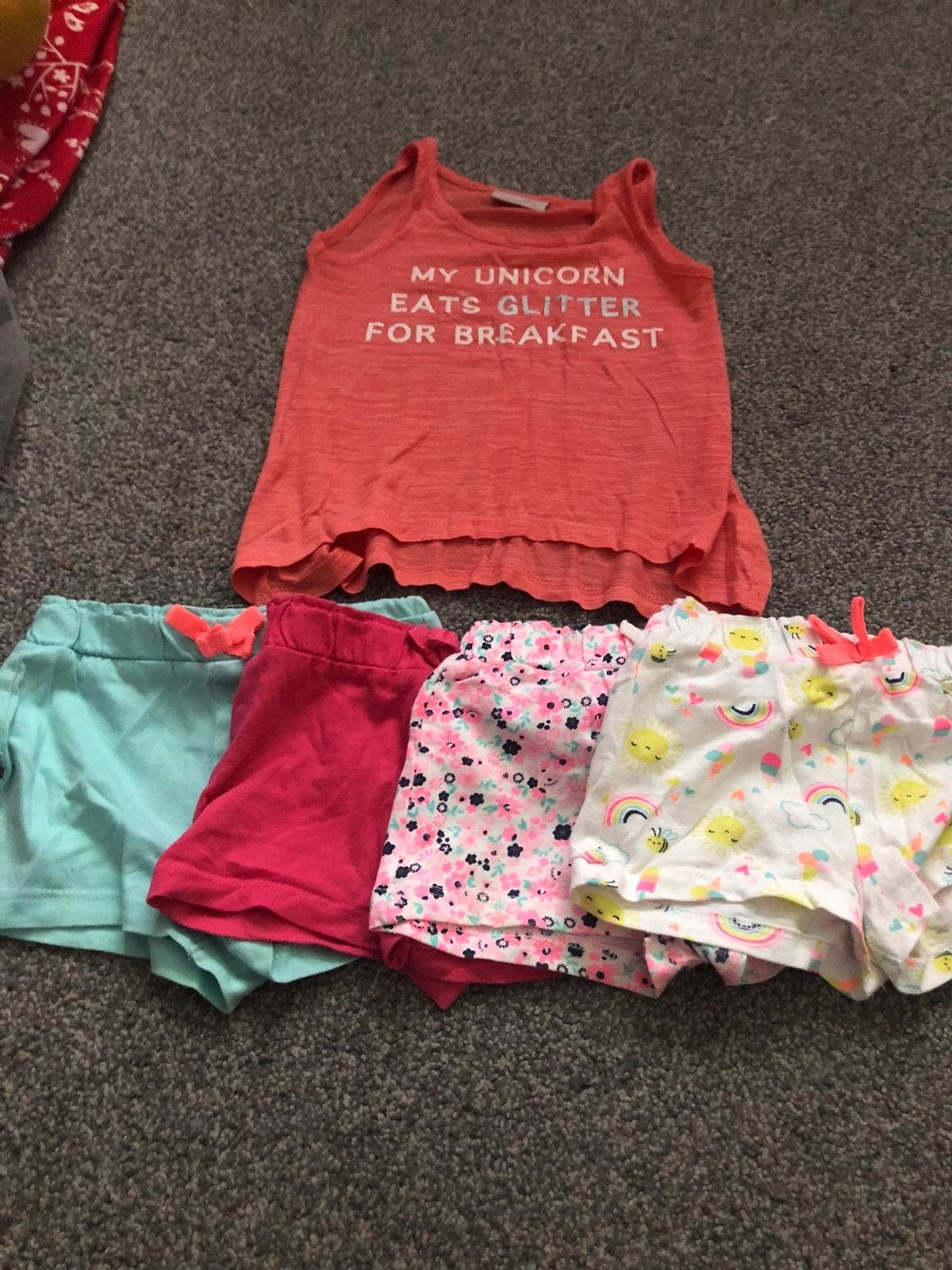 Summer bundle 12-18 months 4 shorts 1 top Very good condition
