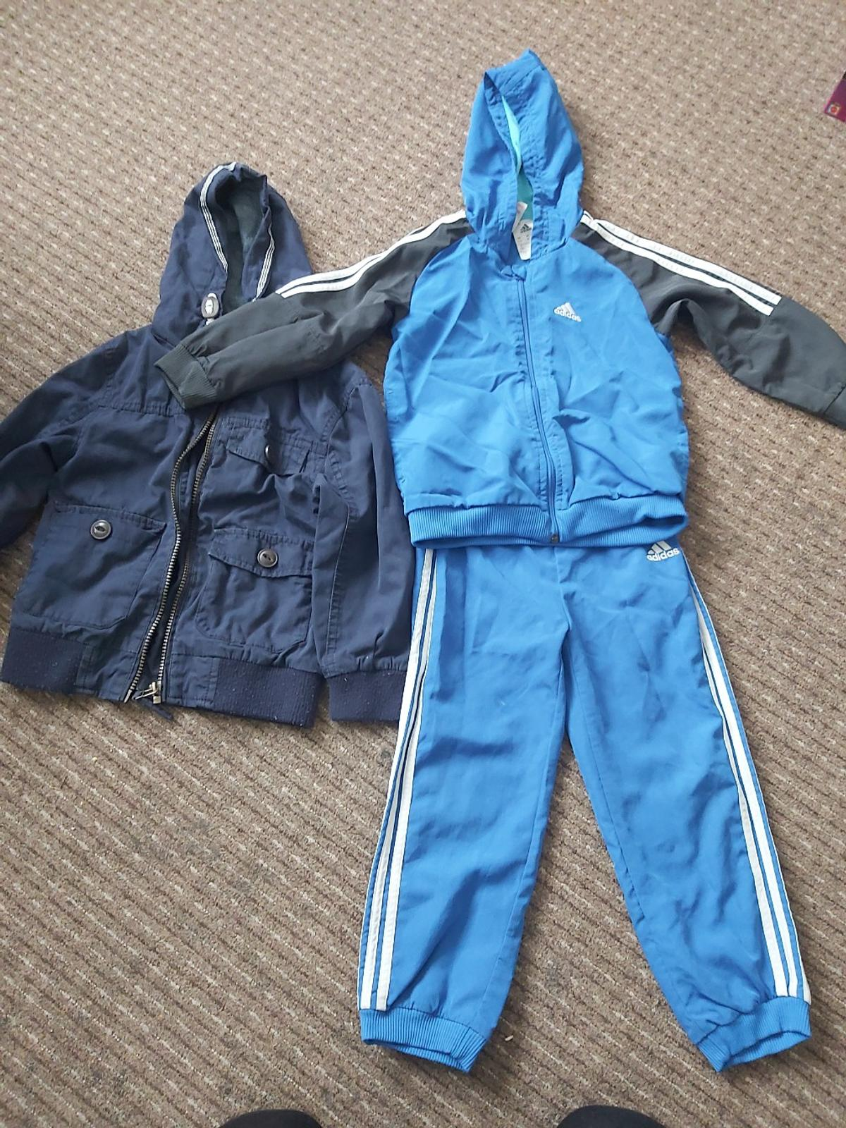 bundle of boys clothes size 3-5 years adidas tracksuit ( small mark on leg shown on picture) Jeans tshirts hoodies jogging bottoms and jacket. Most things only worn once or twice still plenty of wear left in them all. smoke free and pet free home. can deliver locally.
