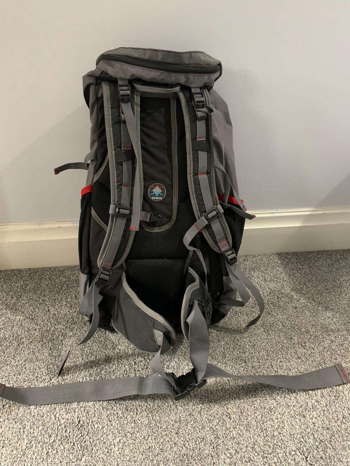 Extra large rucksack perfect for camping, festivals, travelling, hiking Used ONCE for camping at a festival, managed to fit everything in that I needed for 3 days Adjustable straps and clips Will keep belongings safe and secure Comfortable to wear