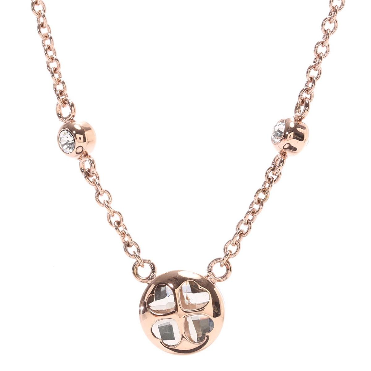 Folli Follie Heart4Heart Win Necklace, Rose Gold plated. An elegant addition to your jewellery collection, with a timeless design crafted in a trendy Rose Gold plated metal, this necklace from Folli Follie is a must have. The pendant features the brand's iconic mini four hearth motif in champagne crystal stones completed with a simple 42cm long chain. Perfect condition no marks or scratches. RP£85