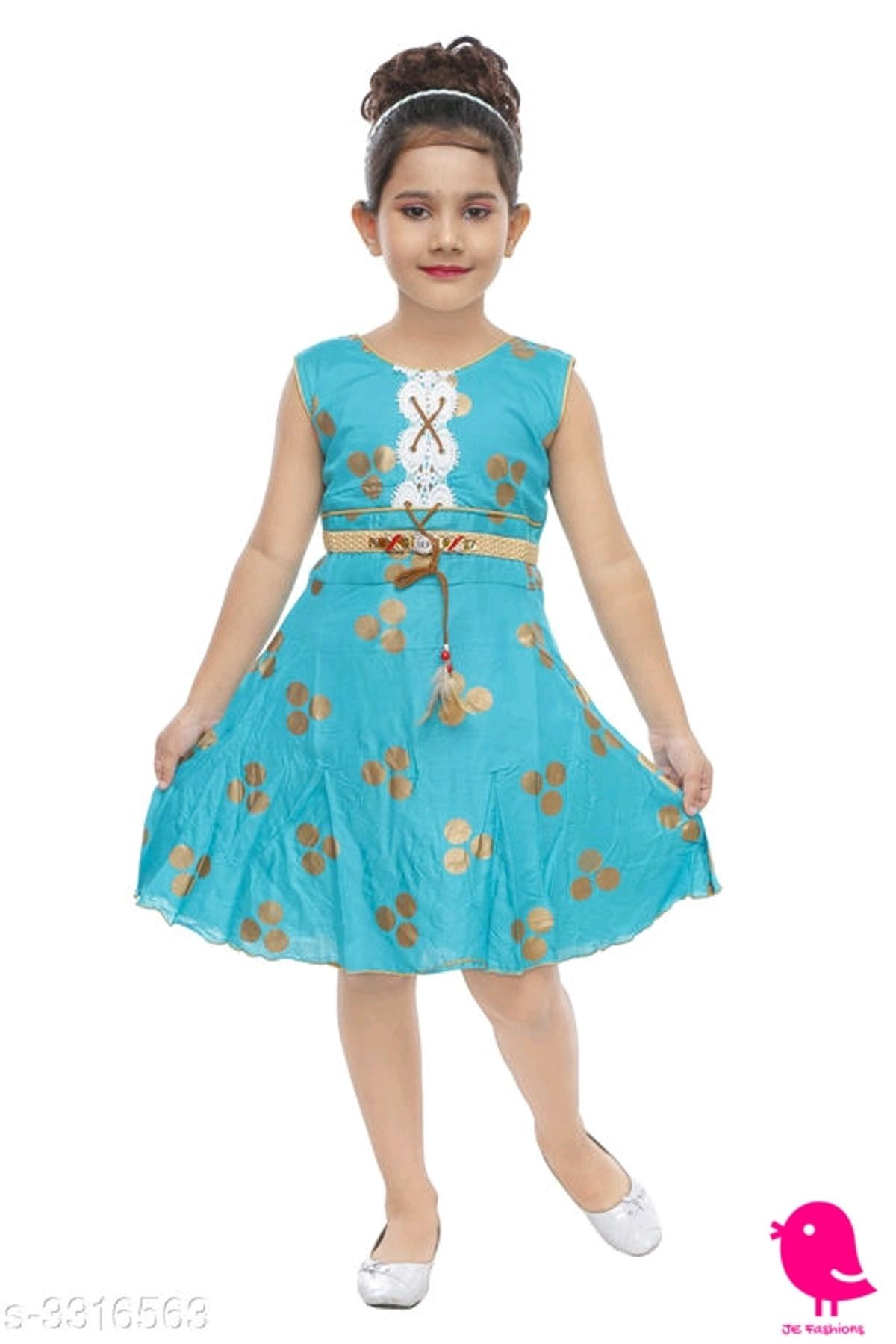 *Cuteness Elegant Girl's Frocks*  Fabric: Cotton Rayon Mix  Sleeves: Sleeves Are Not Included  Size: Age Group (1 - 2 Years) - 20 in  Age Group (2 - 3 Years) - 22 in  Age Group (3 - 4 Years) - 24 in  Age Group (4 - 5 Years) - 26 in  Age Group (5 - 6 Years) - 28 in  Age Group (6 - 7 Years) - 30 in  Type: Stitched  Description: It Has 1 Piece Of Girl's Frock  Work: Printed  MRP Rs. 700/-  Offer Price Rs. 333/-  CASH on DELIVERY  ALL OVER INDIA free HOME DELIVERY  Easy Returns Available in Case