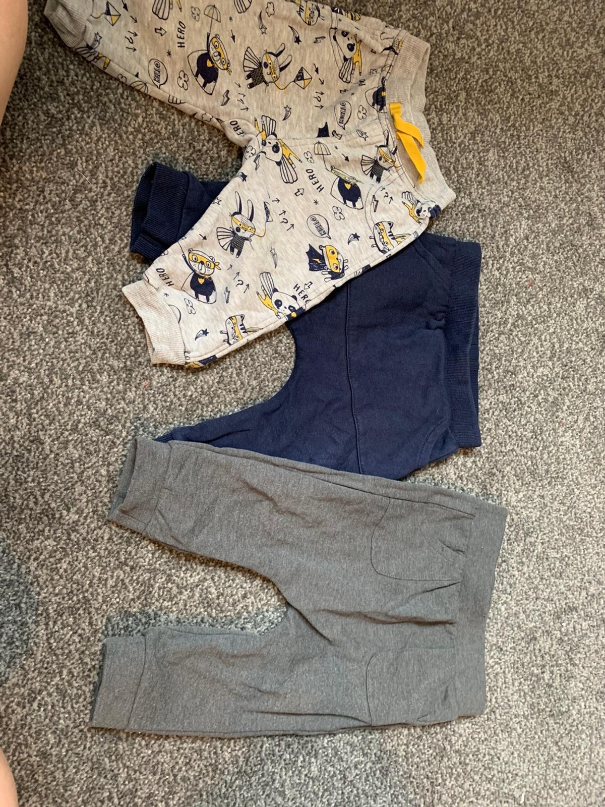 Both 6-9 months, 3 pairs of jeans and 3 pairs of bottoms Very good condition