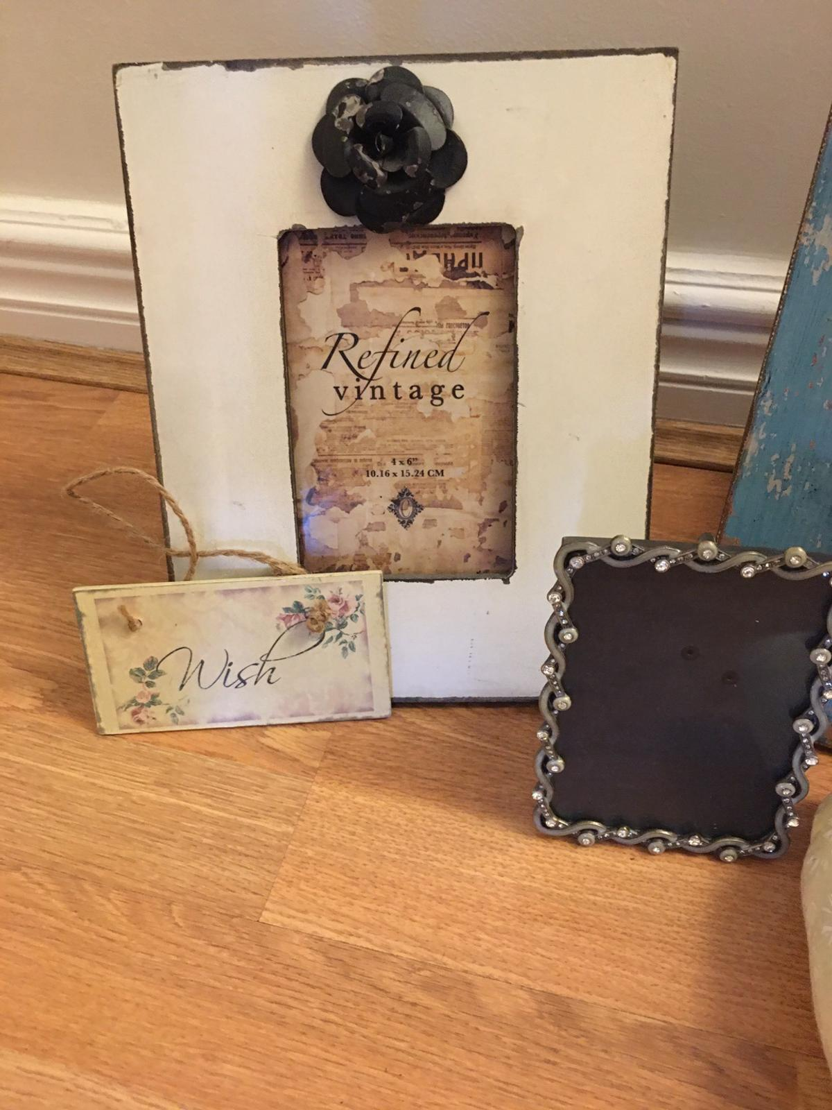 3 photo frames Blue frame as a couple of small diamanté's missing but you can't even notice . Soft hanging heart. Small hanging wish sign