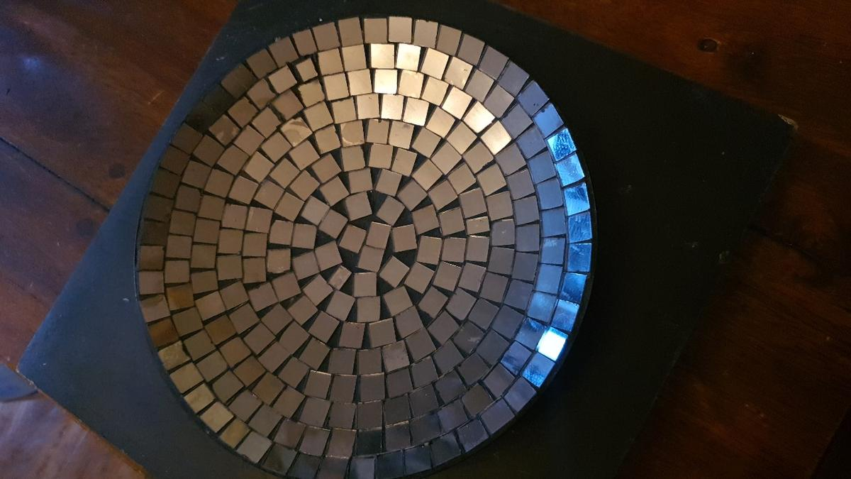 Small mosaic plate/tray perfect for candles or sweets mints etc grey and clear mirrored glass 3 little feet