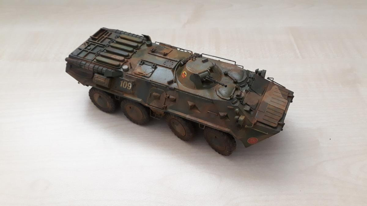 Assembled and hand painted plastic model of legendary Soviet AFV BTR-80, which was widely used by USSR army in Afghanistan war in 1980s. Scale 1:35. Kit producer Zvezda.